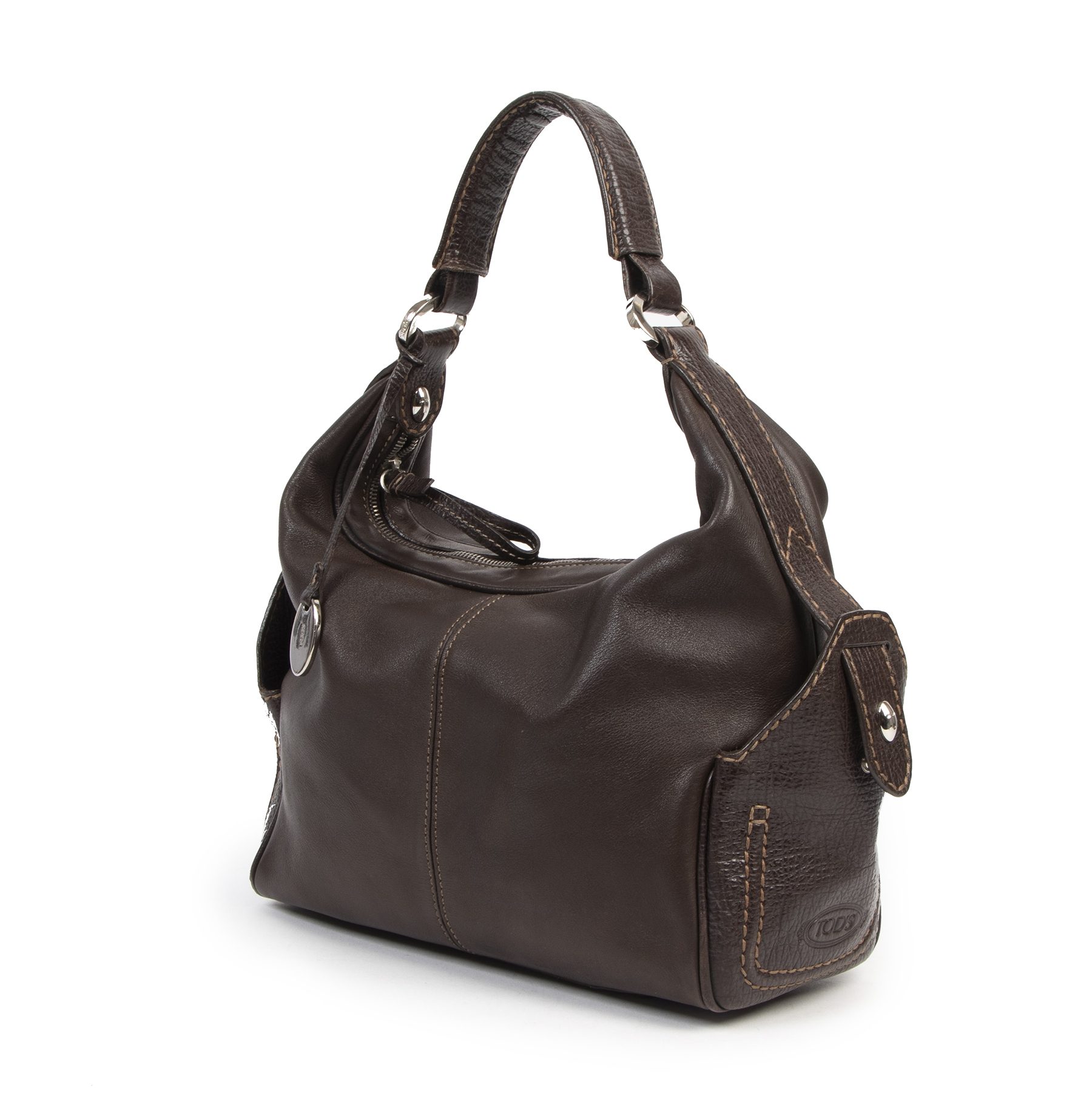 Authentic second-hand vintage Tods Brown Top Handle Hobo Bag buy online webshop LabelLOV