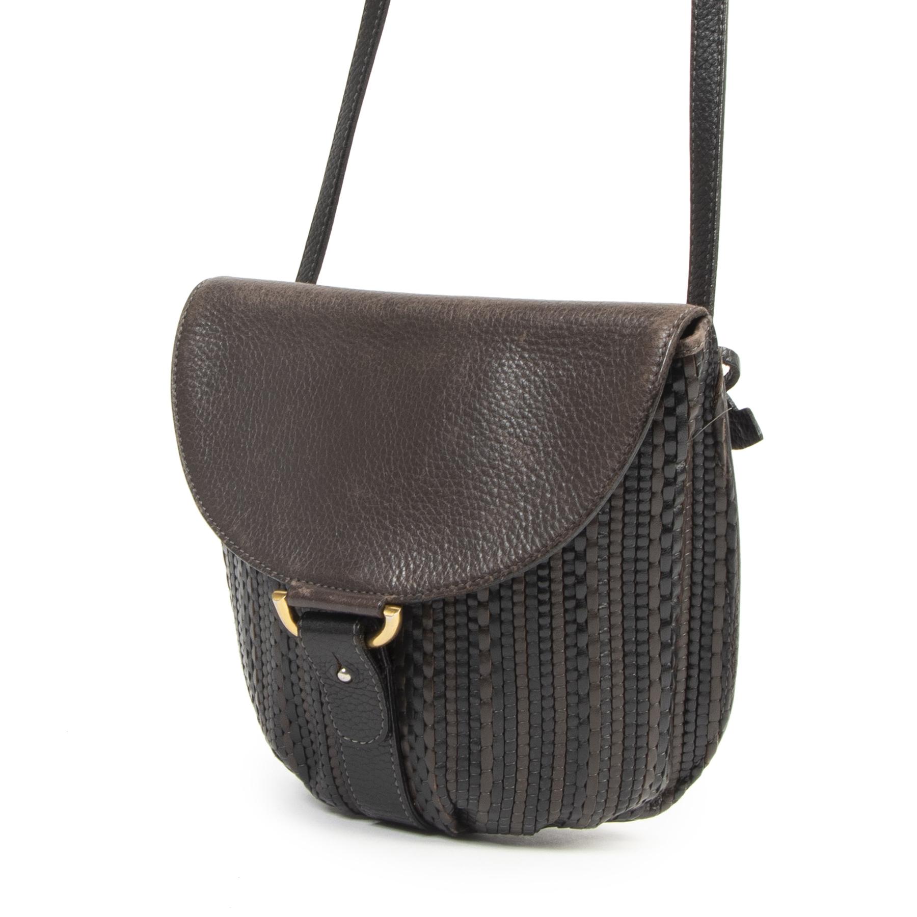 Authentieke Tweedehands Delvaux Brown Toile de Cuir Crossbody Bag juiste prijs veilig online shoppen luxe merken webshop winkelen Antwerpen België mode fashion