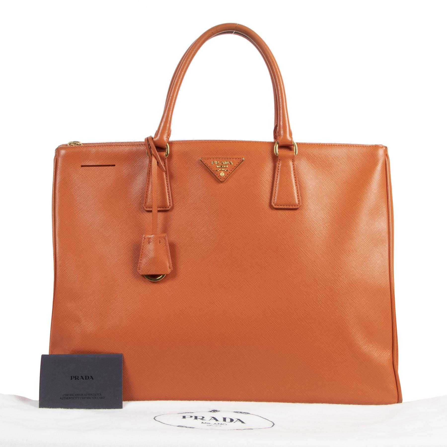 Authentic second-hand vintage Prada Orange Saffiano Tote Bag buy online webshop LabelLOV