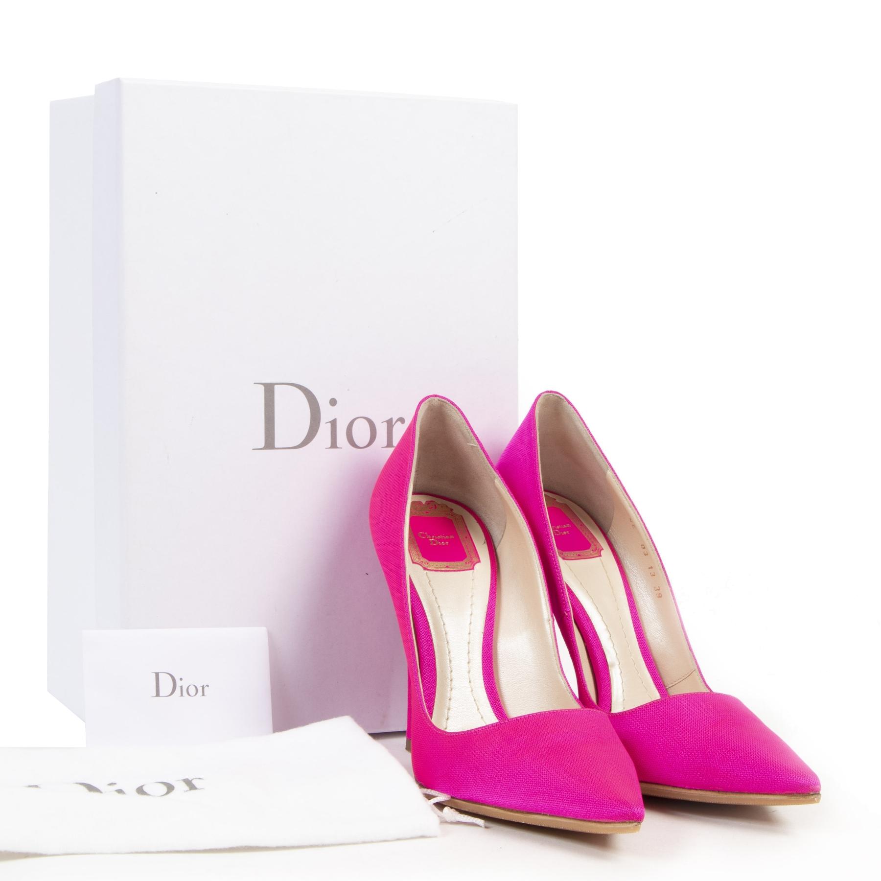 Authentieke tweedehands vintage Christian Dior Fluo Pink Pumps - Size 39 koop online webshop LabelLOV