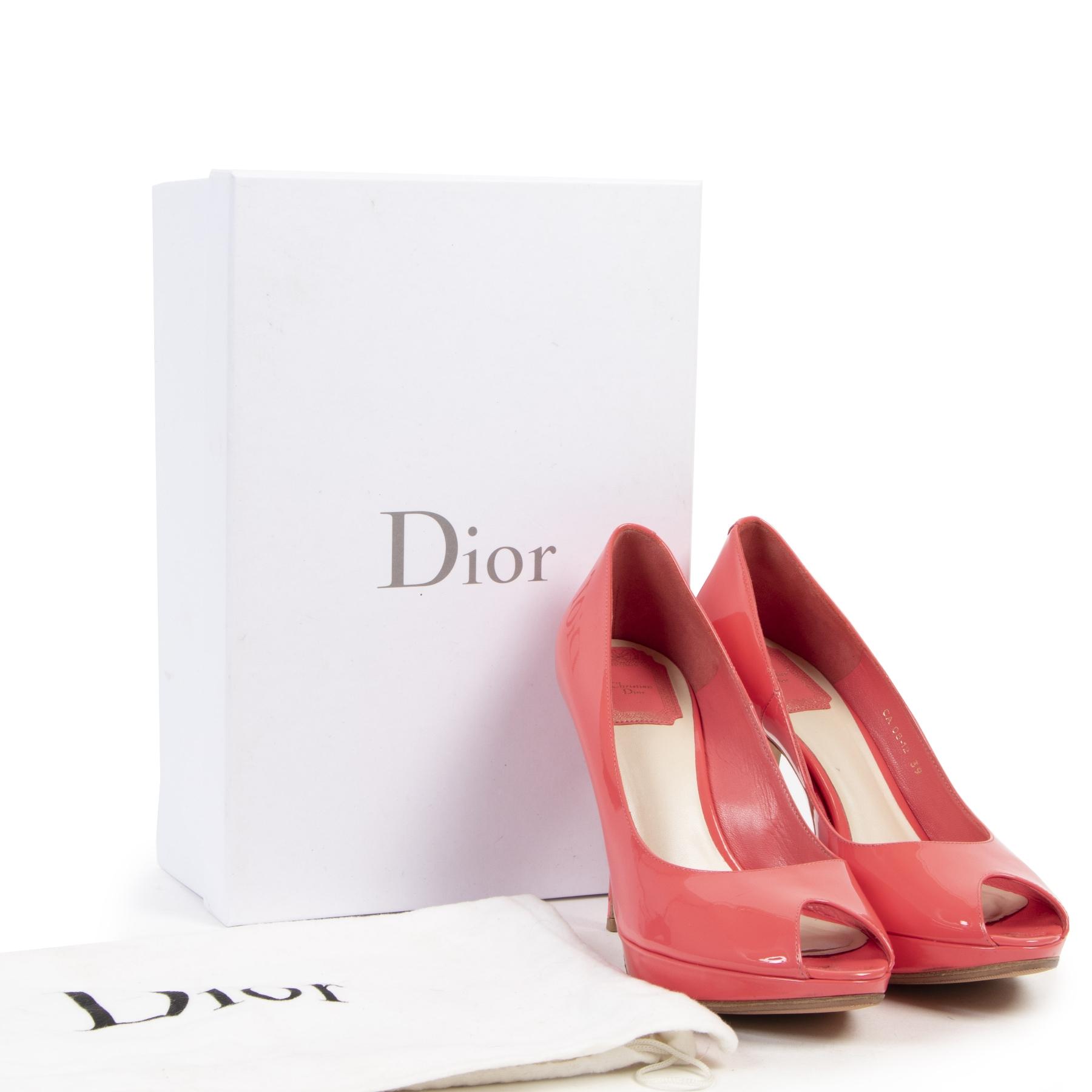 Authentieke tweedehands vintage Dior Pink Open Toe Pumps - Size 39 koop online webshop LabelLOV