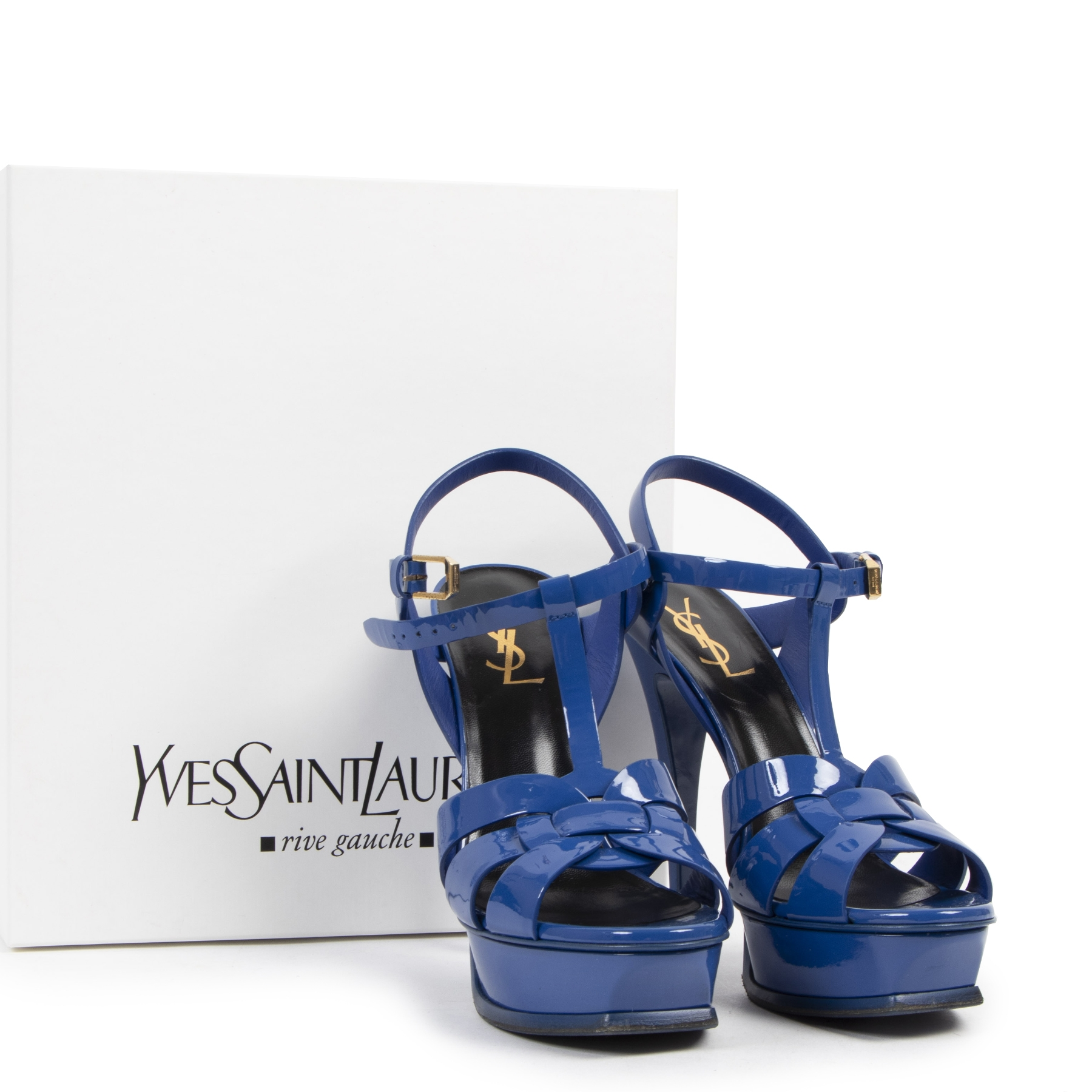 Authentieke tweedehands vintage Yves Saint Laurent Tribute Platform Sandals - Size 39 koop online webshop LabelLOV