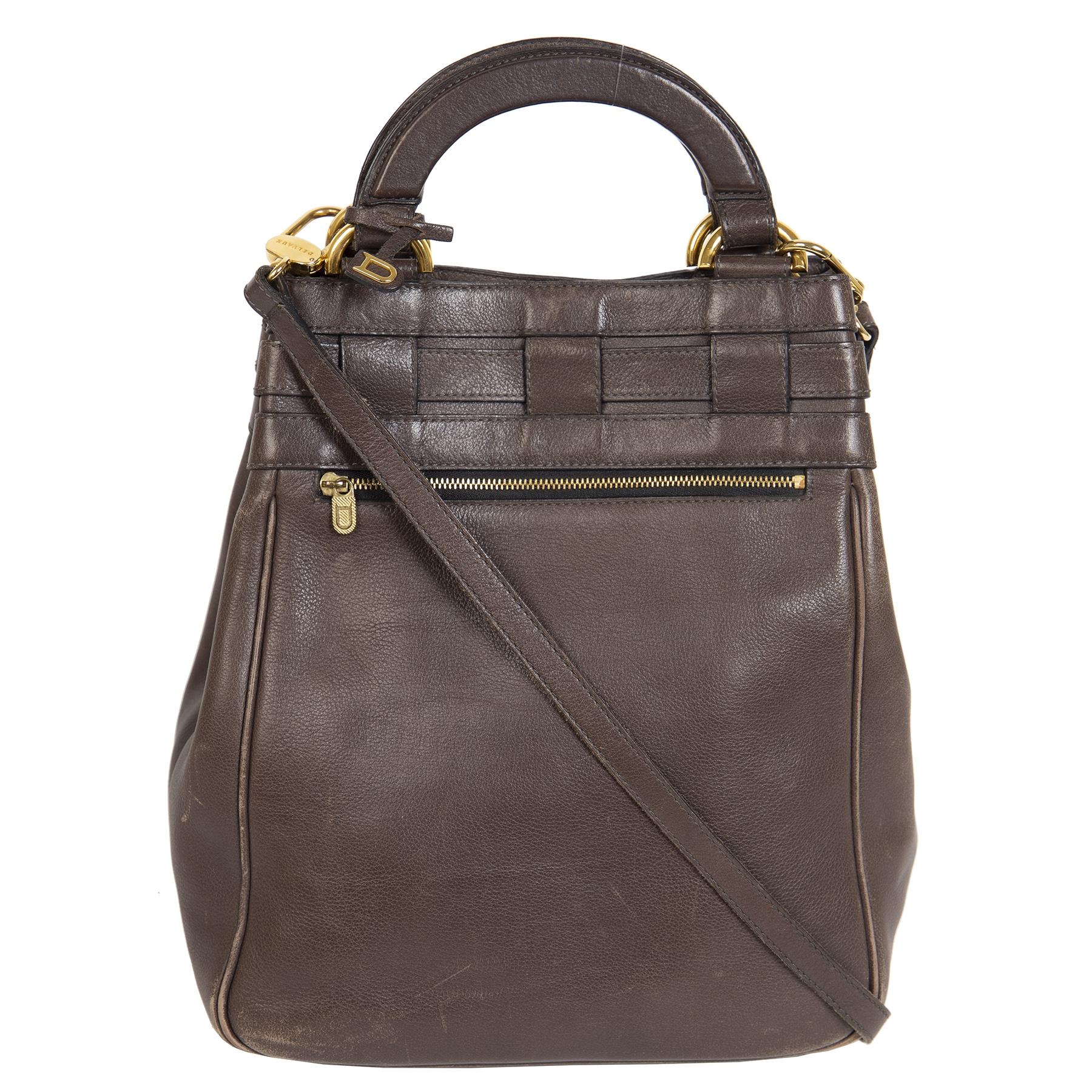 Authentieke Tweedehands Delvaux Dark Brown Leather Shoulder Bag juiste prijs veilig online shoppen luxe merken webshop winkelen Antwerpen België mode fashion