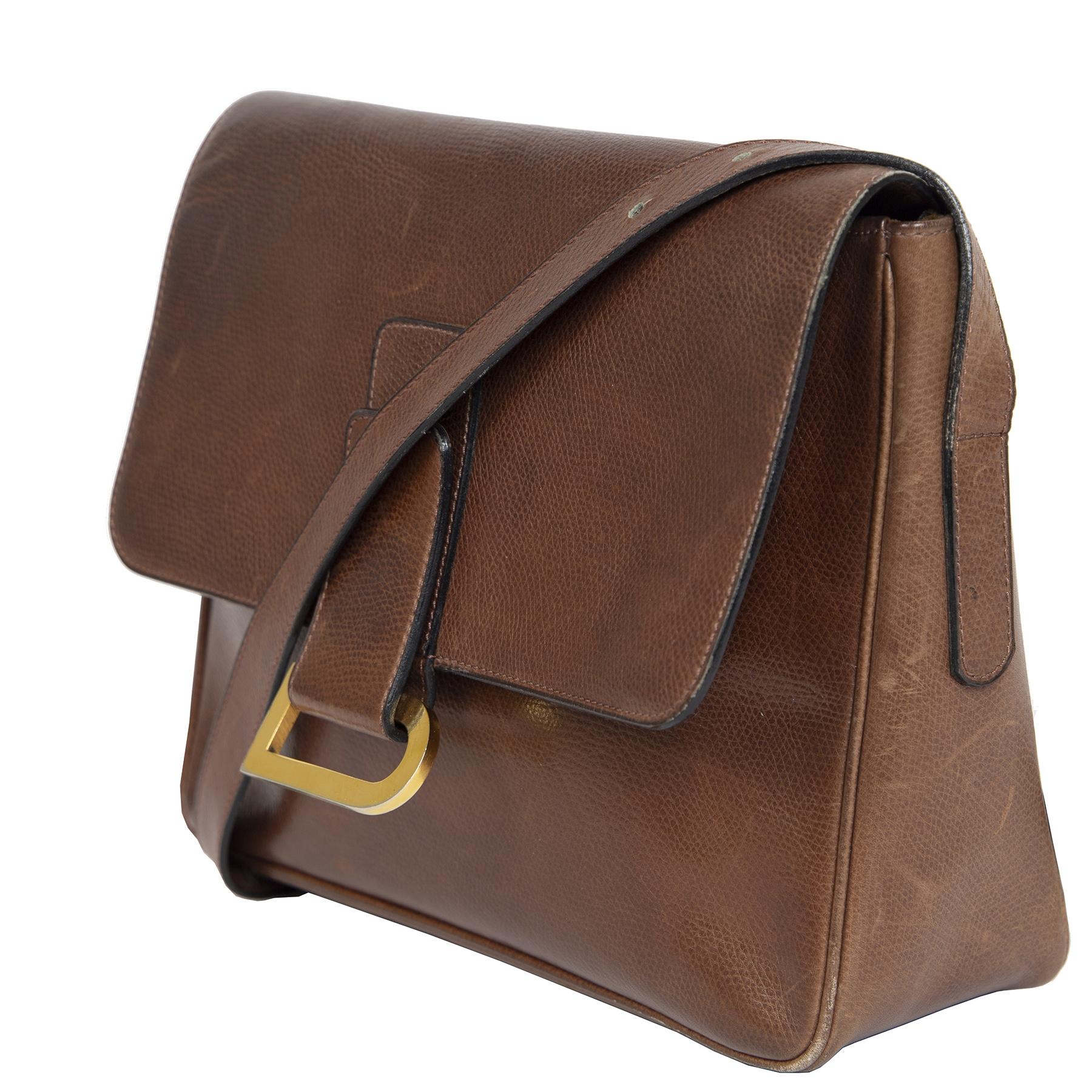 Authentieke Tweedehands Delvaux Cognac Passerelle Shoulder Bag juiste prijs veilig online shoppen luxe merken webshop winkelen Antwerpen België mode fashion