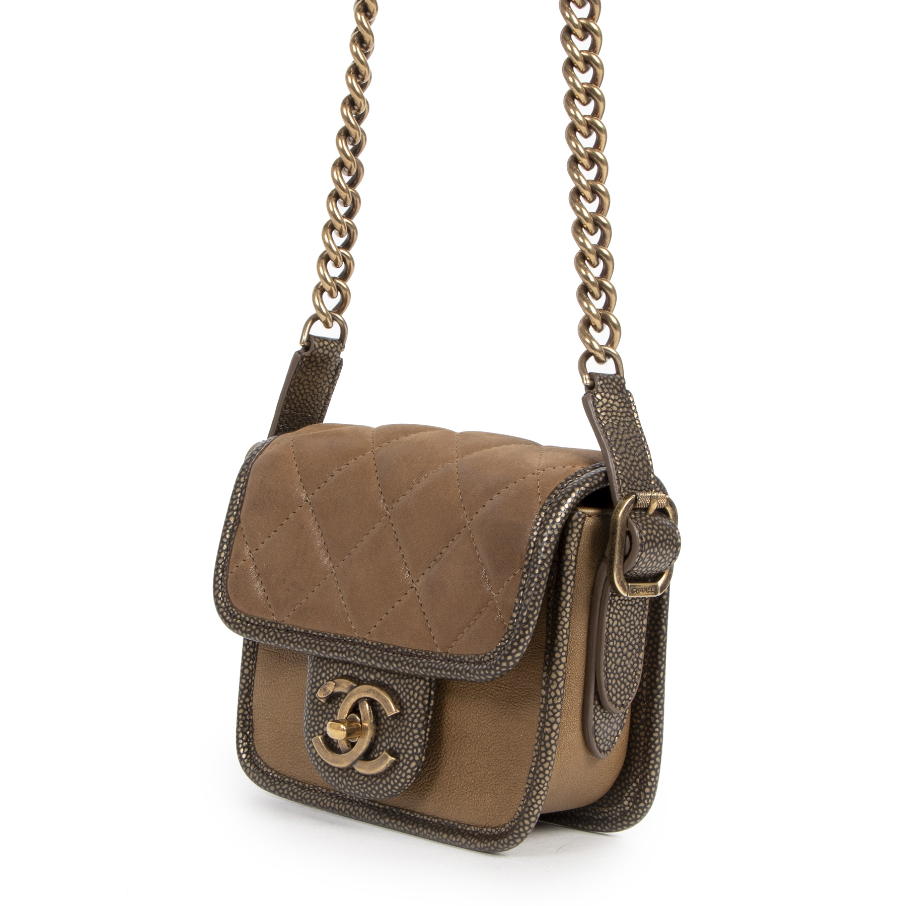 buy authentic secondhand Chanel Gold Leather Paris-Bombay Back To School Mini Crossbody Bag at the right price online safe and secure at LabelLOV webshop Antwerp Belgium