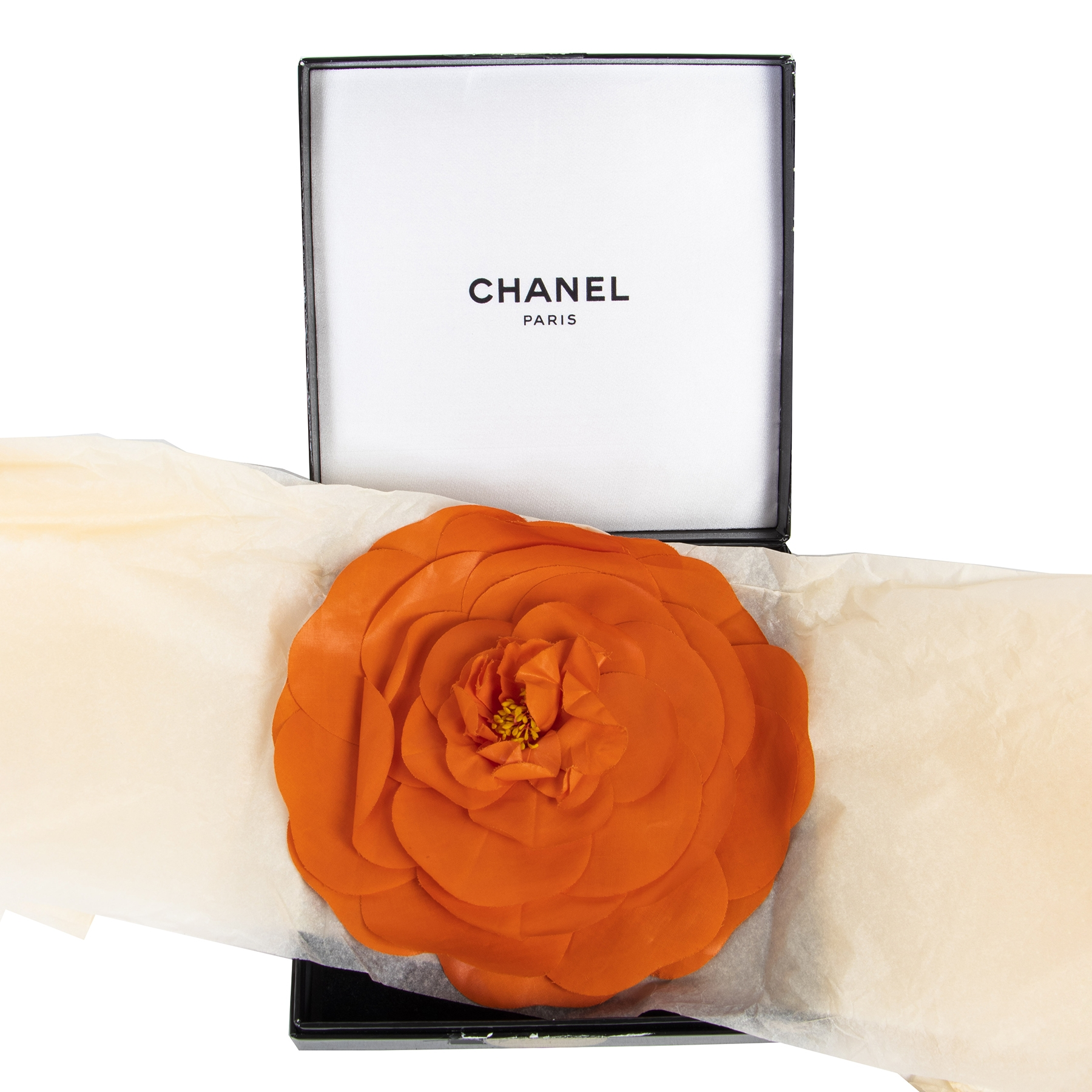 Authentic second-hand vintage Chanel Orange Camellia Flower Brooch Pin buy online webshop LabelLOV