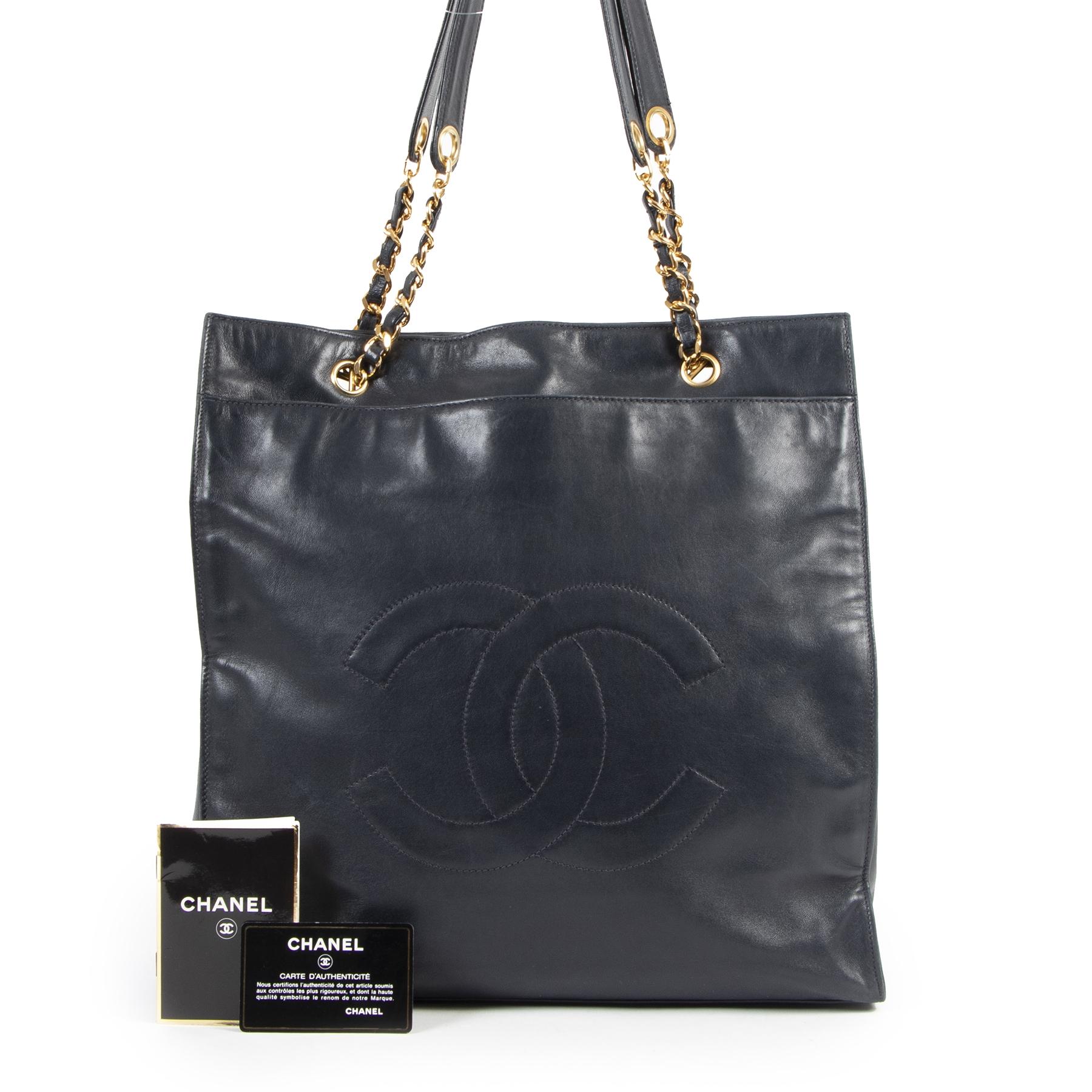 Authentieke Tweedehands Chanel Blue CC Vintage Shopper Tote juiste prijs veilig online shoppen luxe merken webshop winkelen Antwerpen België mode fashion