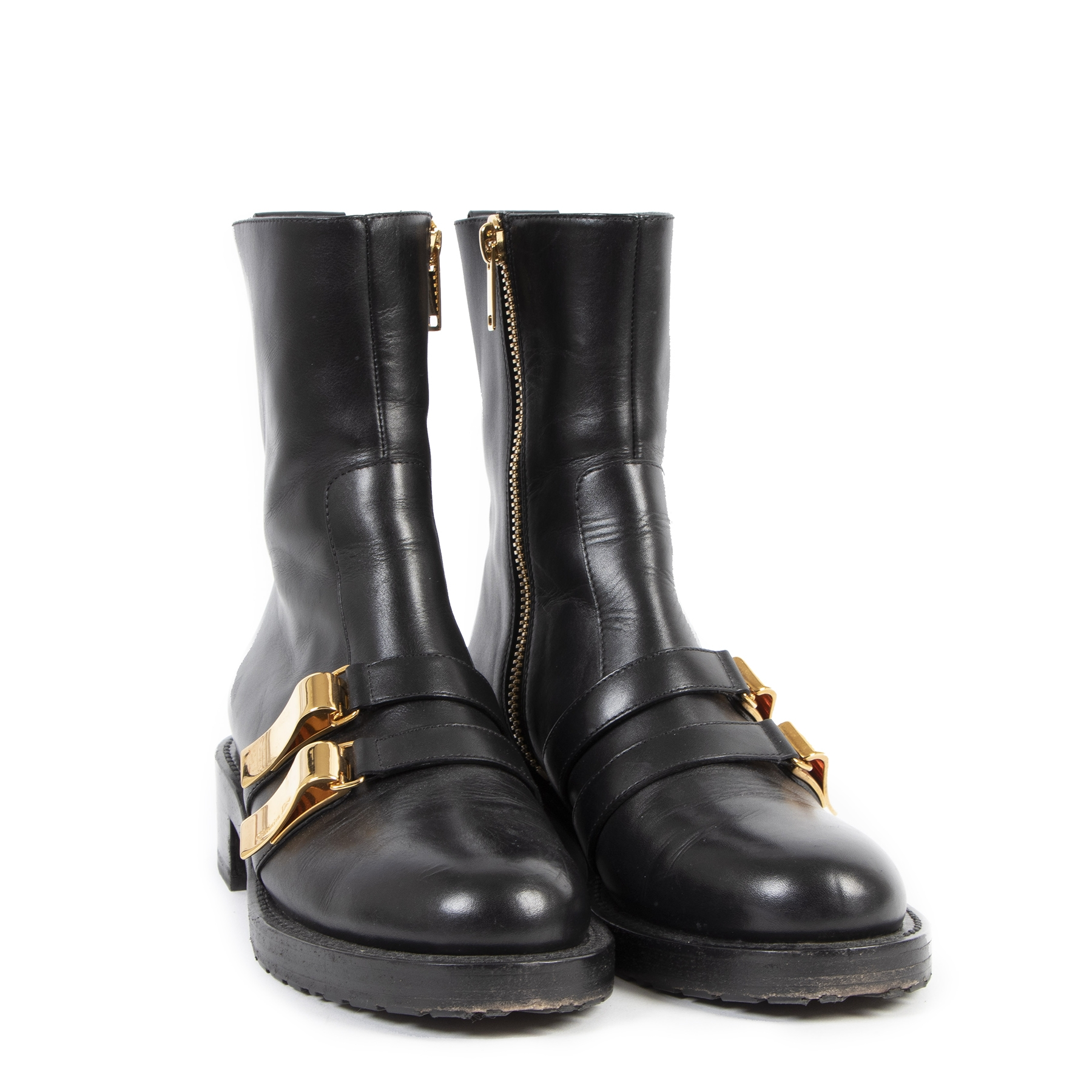 Authentieke Tweedehands Christian Dior Black Calfskin Leather Buckle Ankle Boots - Size 39,5 juiste prijs veilig online shoppen luxe merken webshop winkelen Antwerpen België mode fashion