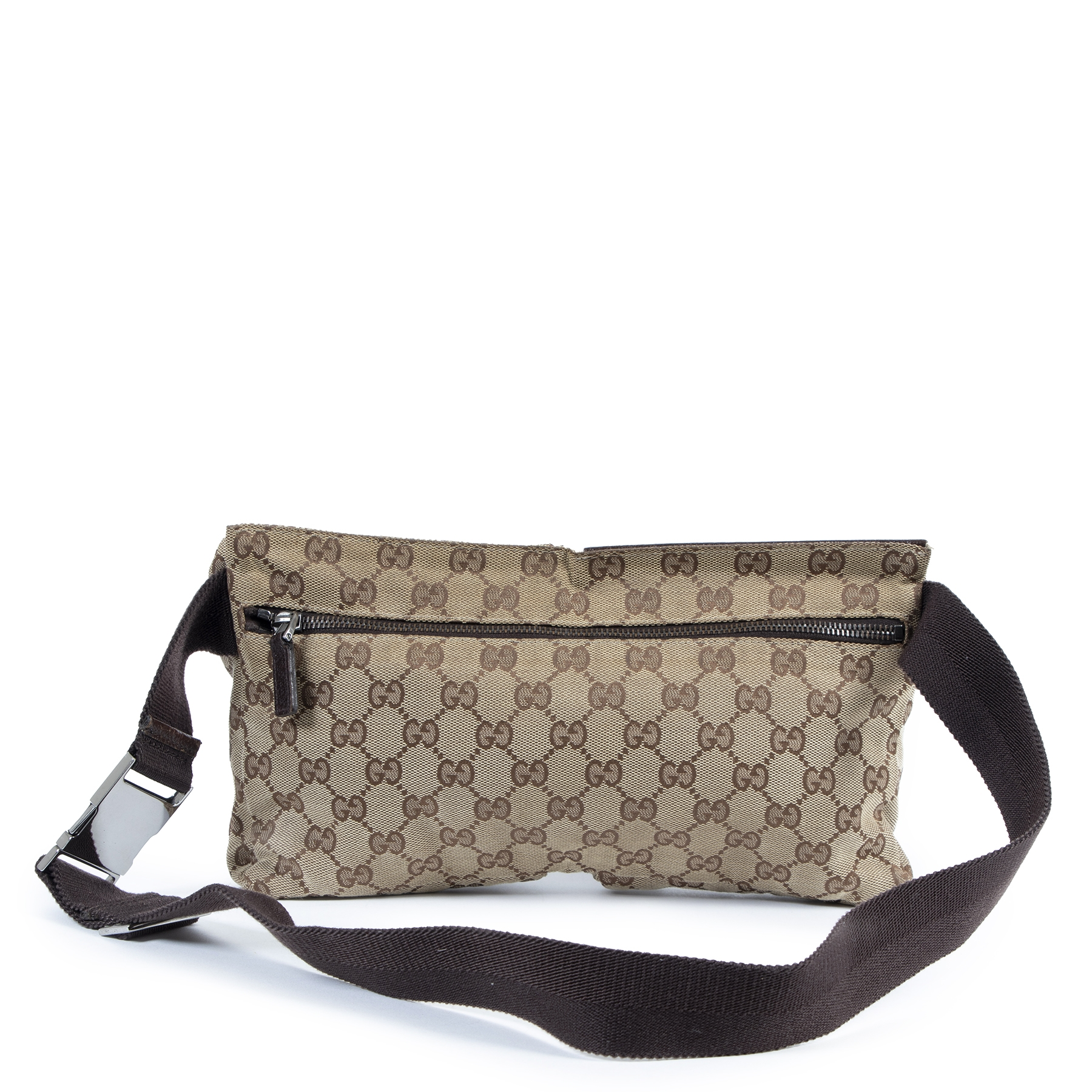 Authentieke Tweedehands Gucci Monogram Beige Belt Bag juiste prijs veilig online shoppen luxe merken webshop winkelen Antwerpen België mode fashion