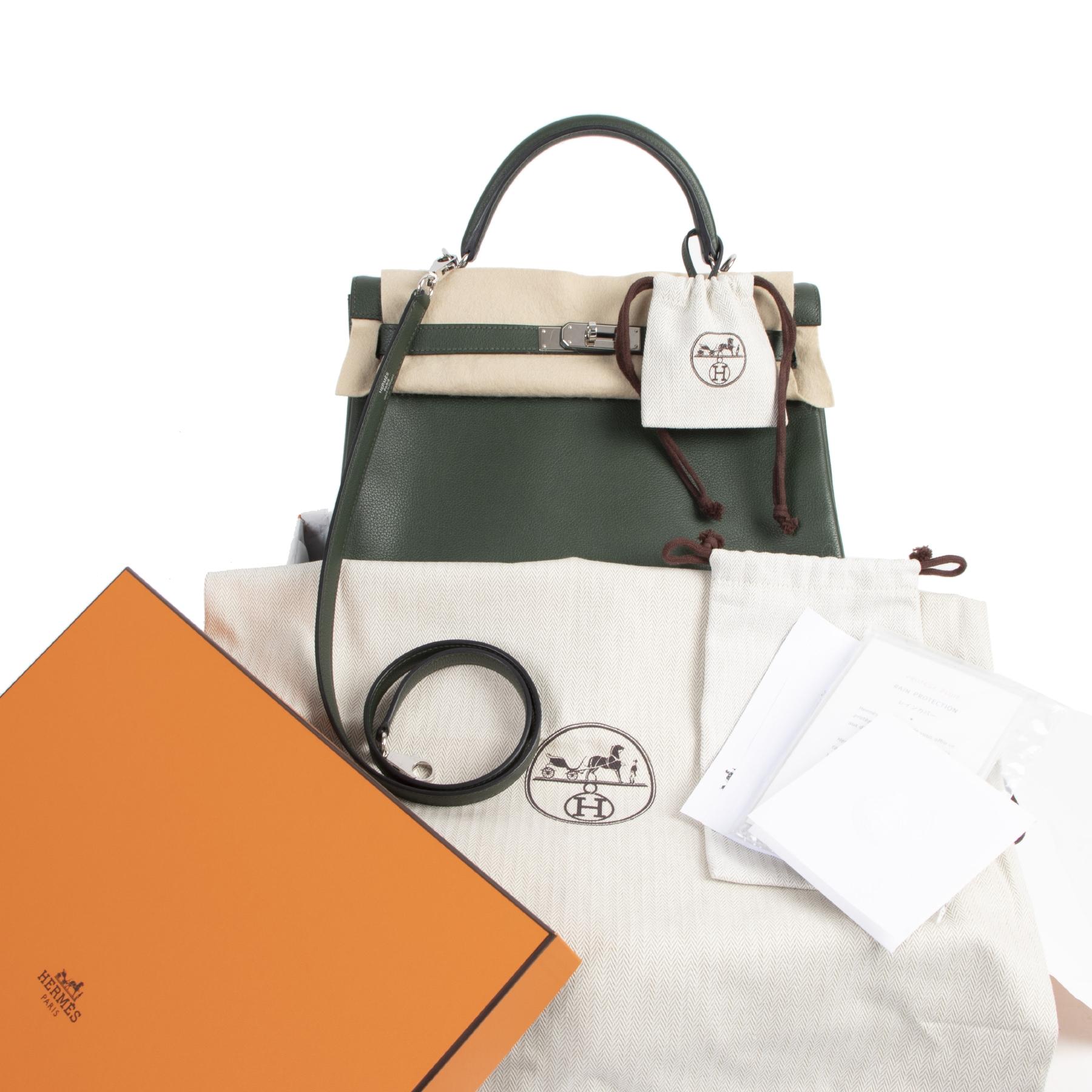 Koop en verkoop uw authentieke designer Hermes Kelly 32cm Vert Anglais Veau Evercolor PHW