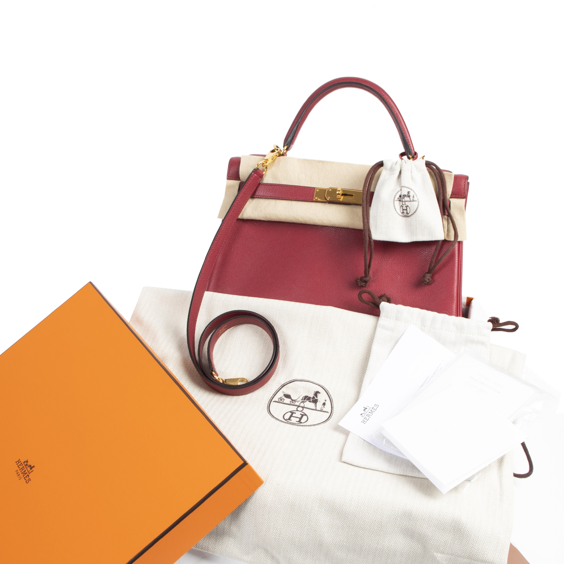 Hermes Kelly 32 Rouge Grenat Veau Evercolor GHW