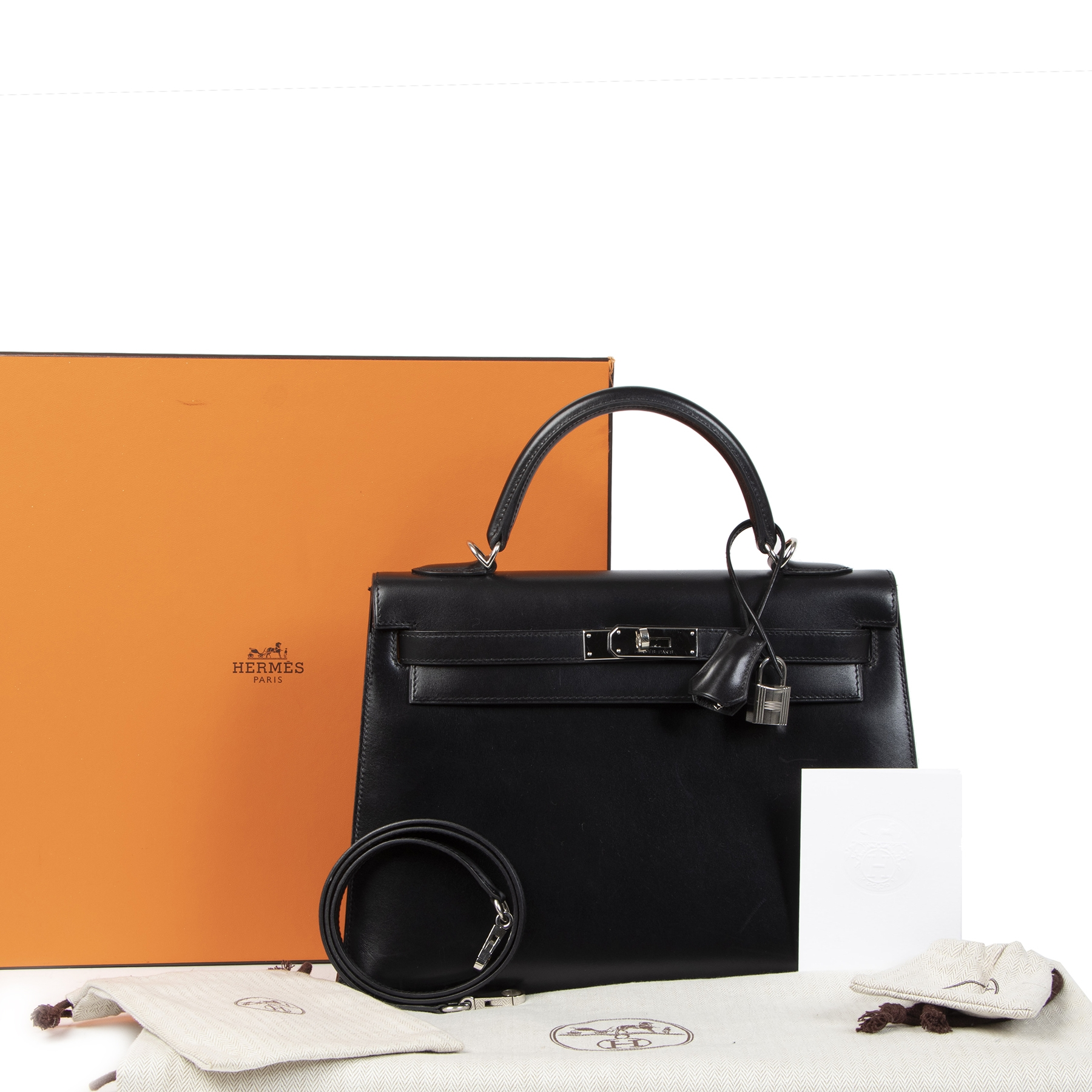 skip the waiting list shop safe online your secondhand Hermès Kelly 32 Black Boxcalf PHW