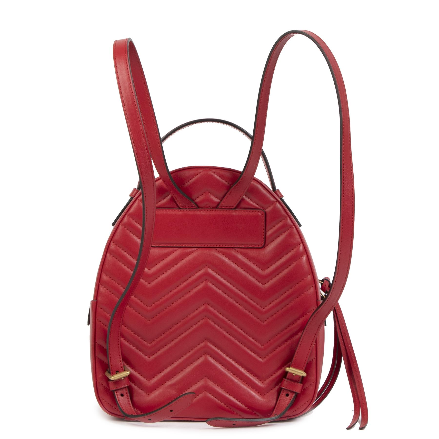 Authentieke Tweedehands Gucci GG Marmont Matelassé Leather Backpack juiste prijs veilig online shoppen luxe merken webshop winkelen Antwerpen België mode fashion