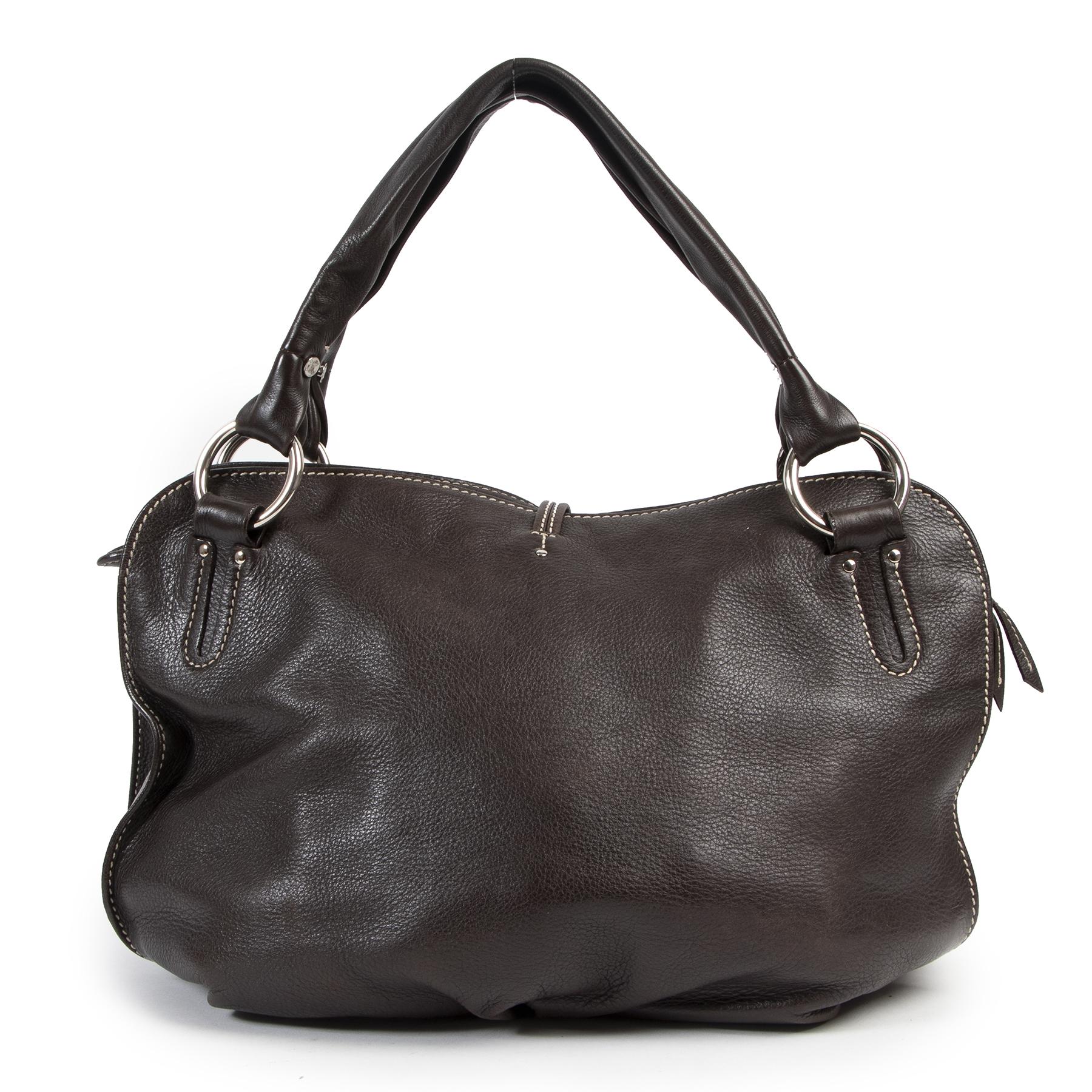Authentieke Tweedehands Celine Brown Leather Bittersweet Hobo Bag juiste prijs veilig online shoppen luxe merken webshop winkelen Antwerpen België mode fashion