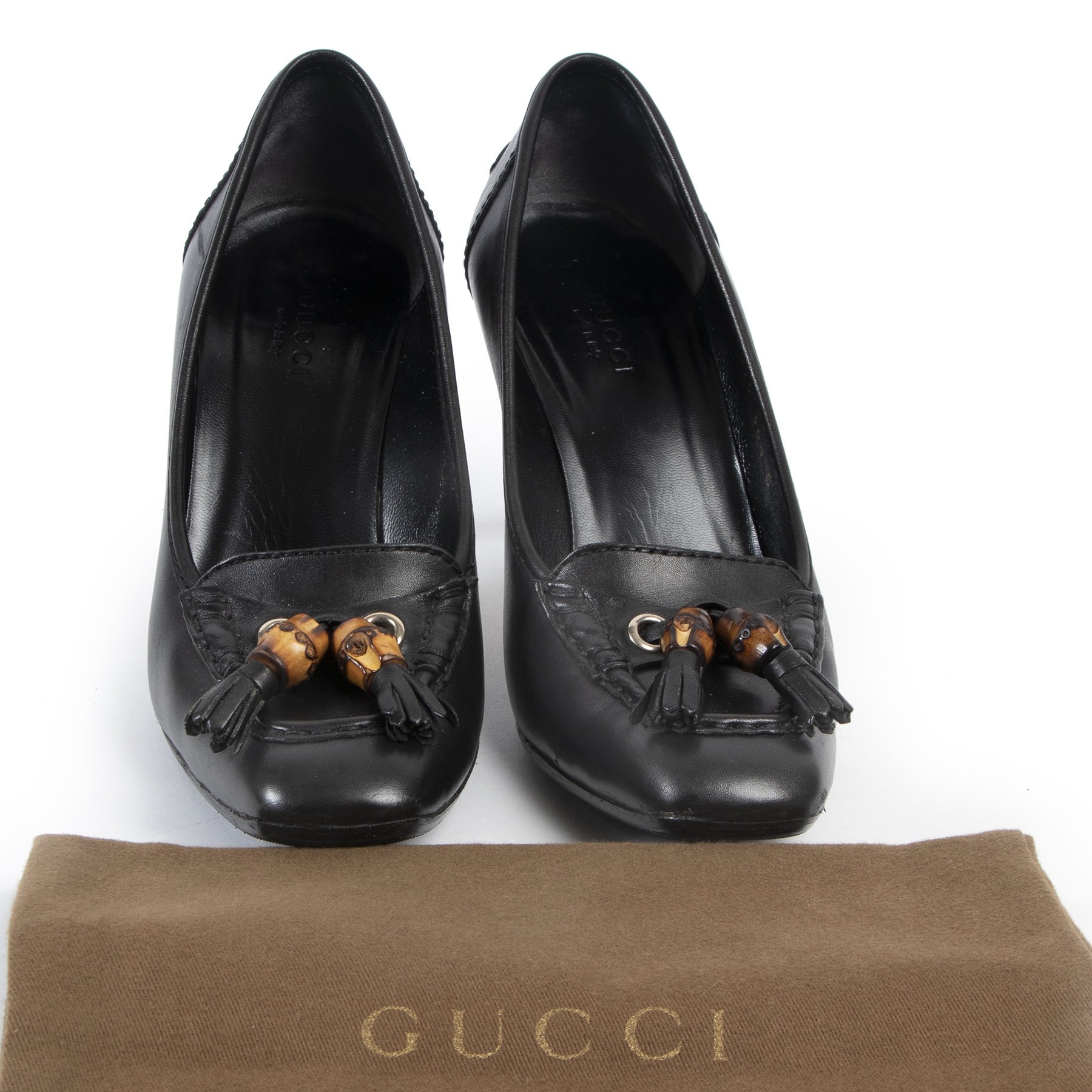 Authentic secondhand Gucci Black Leather Bamboo Heels - Size 36,5 designer shoes fashion luxury vintage webshop safe secure online shopping