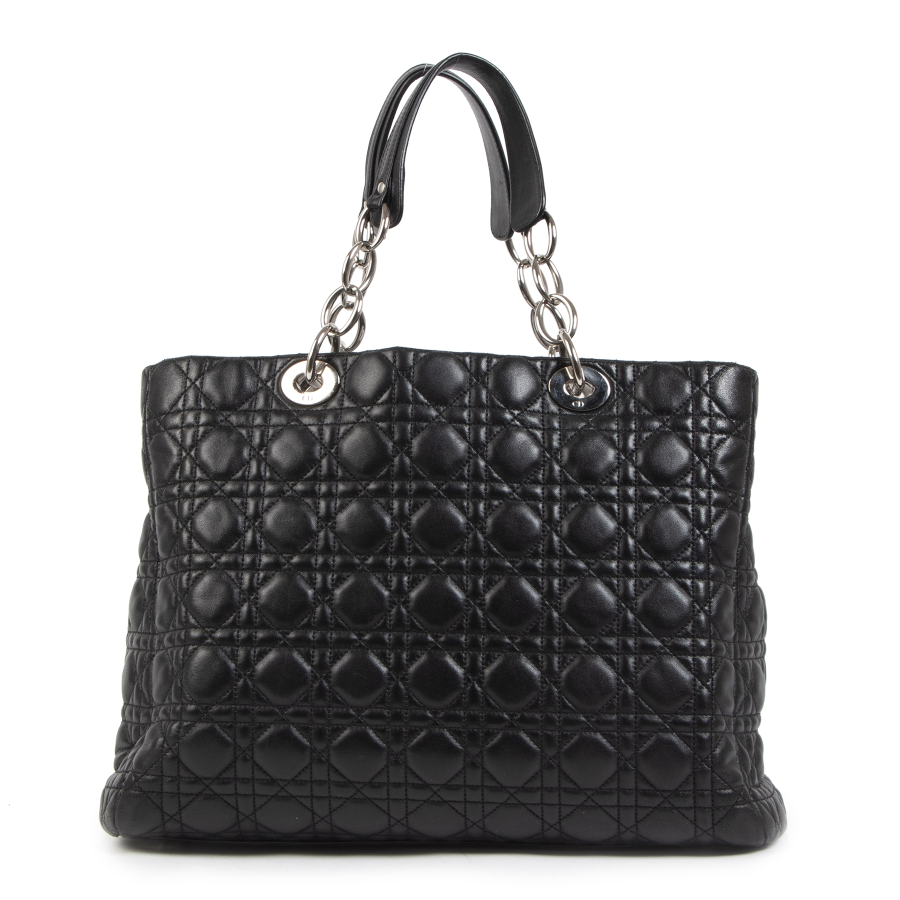 Authentieke tweedehands vintage Dior Black Large Shopping Tote koop online webshop LabelLOV