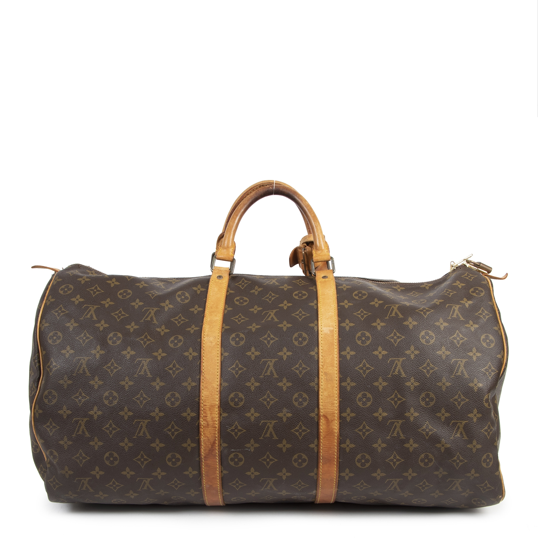 Authentic second-hand vintage Louis Vuitton Vintage Monogram Keepall 60 Bandouliere Boston Travel Bag buy online webshop LabelLOV