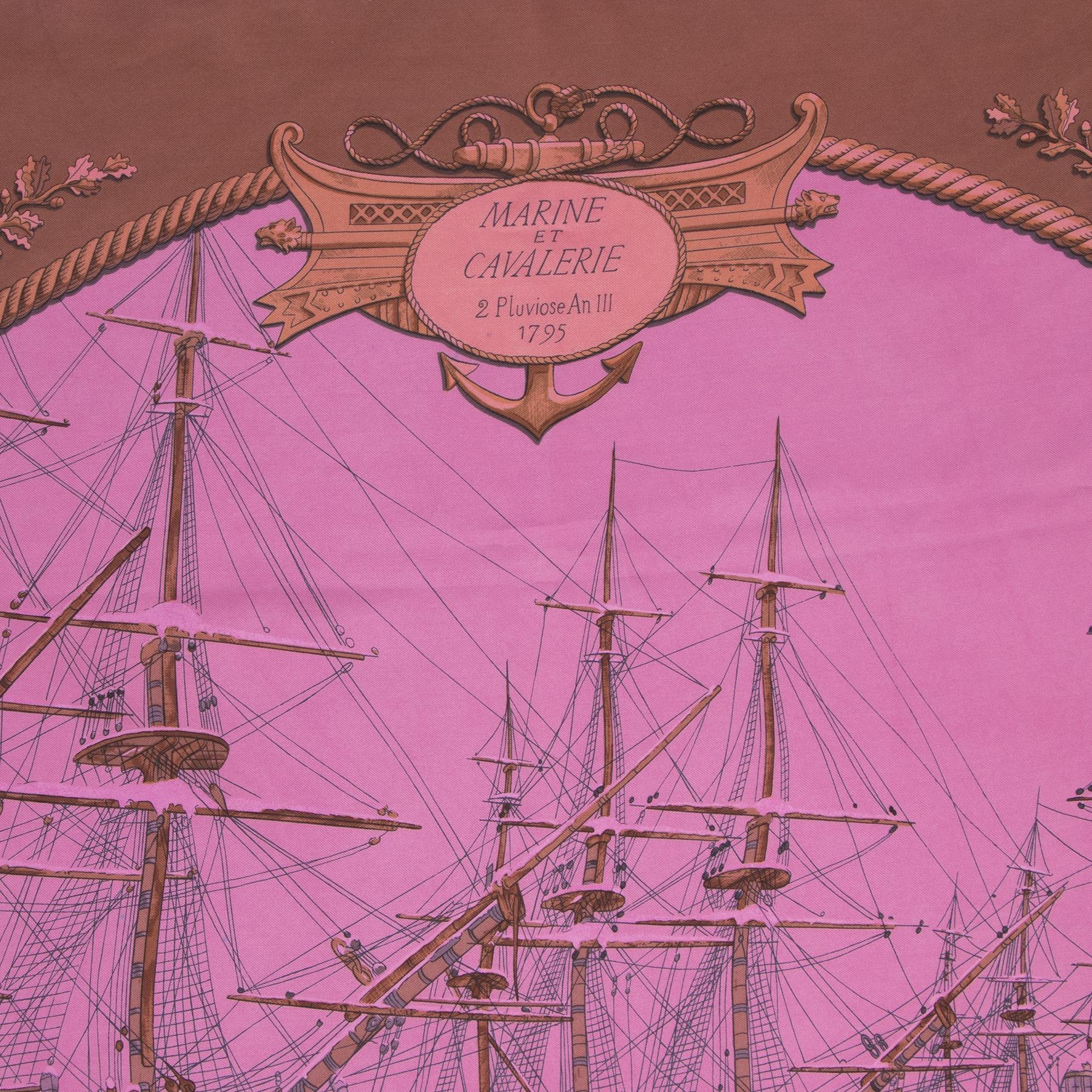 Authentieke tweedehands vintage Hermès Marine Et Cavalerie Carré Scarf  koop online webshop LabelLOV