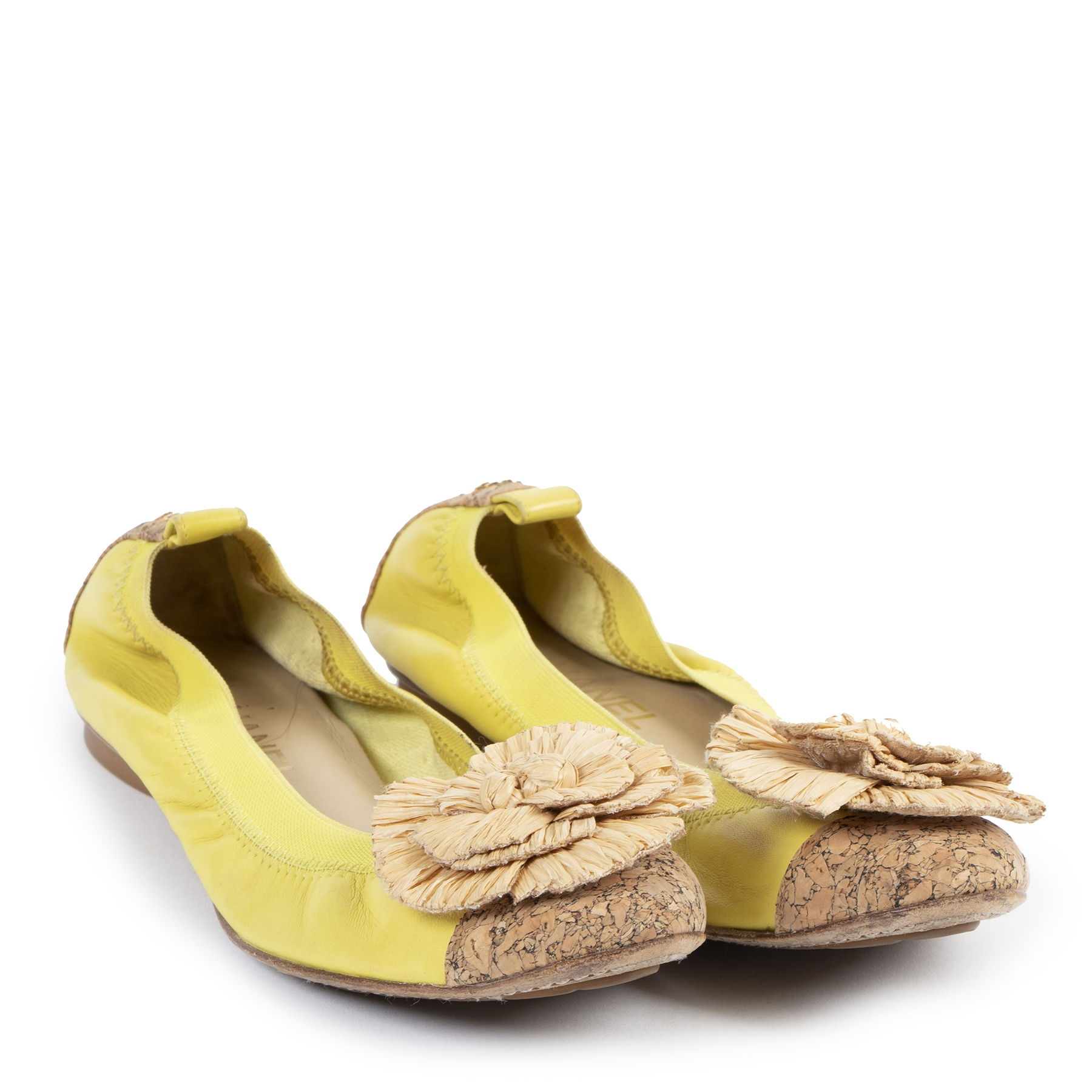 Chanel Yellow Straw Flower Ballerinas - Size 39,5