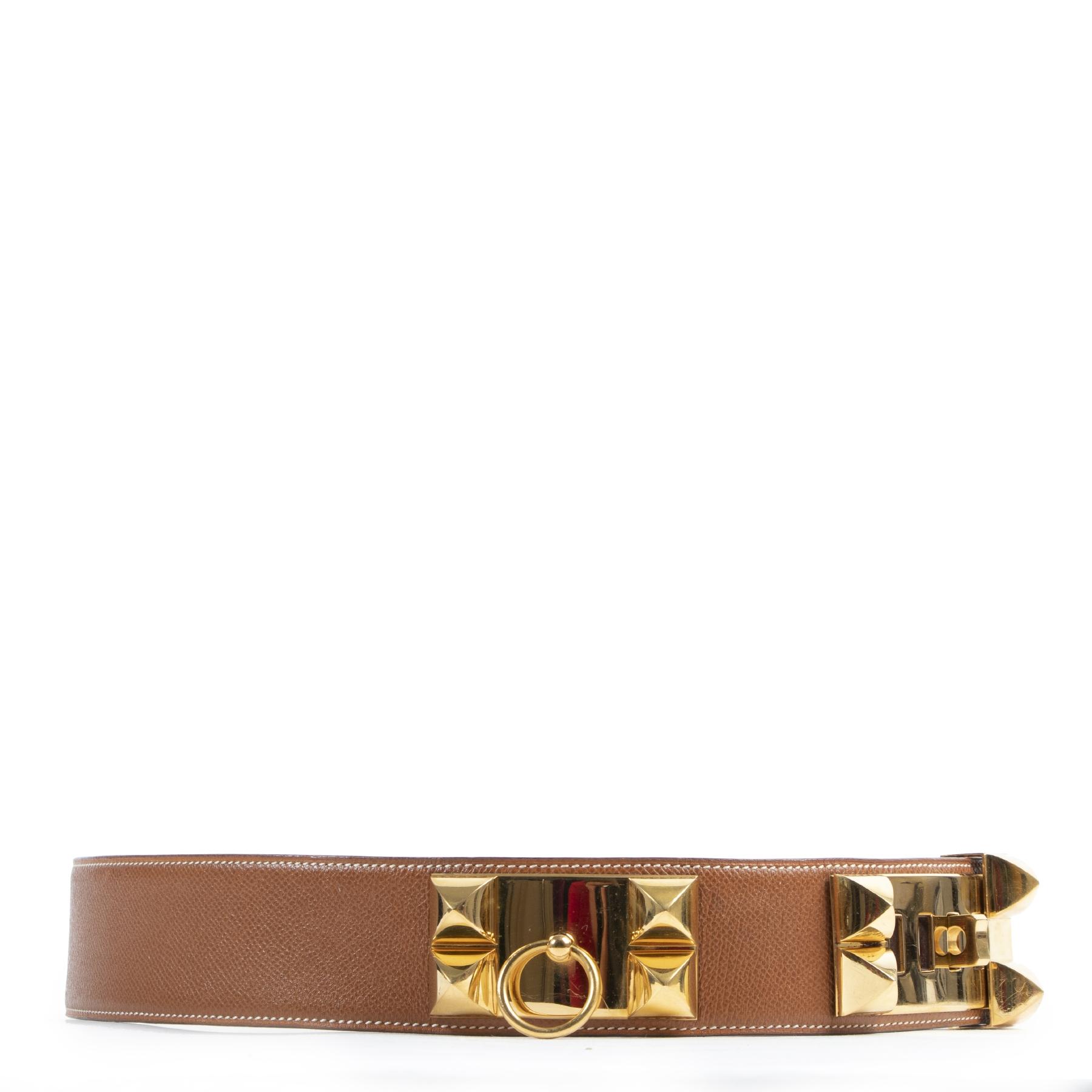 Authentic secondhand Hermès Cognac Gold Collier de Chien Belt - Size 90 designer accessories fashion luxury vintage webshop safe secure online shopping