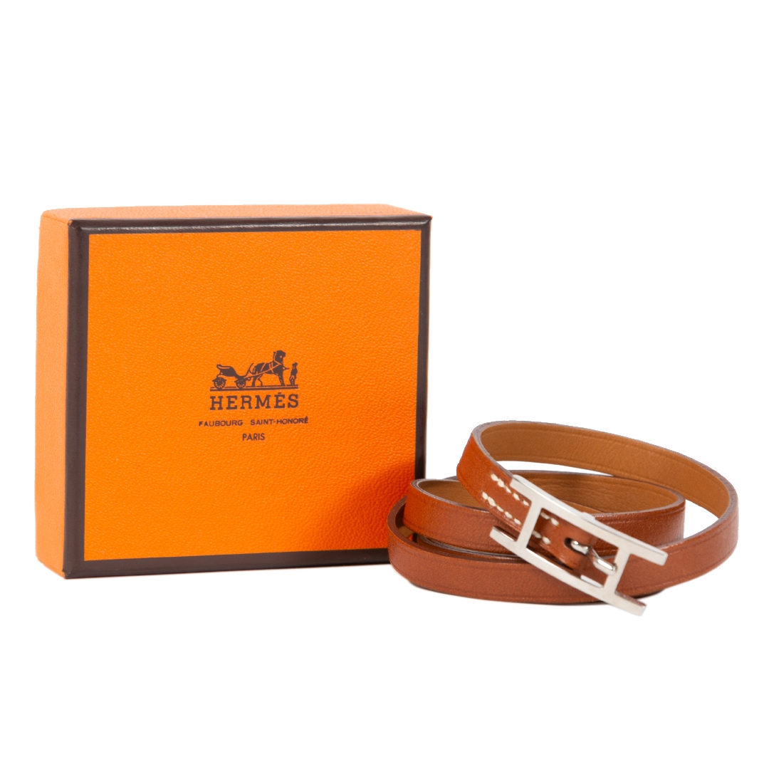 shop safe online Hermès Api III Brown Leather Silver Tone H Logo Wrap Bracelet