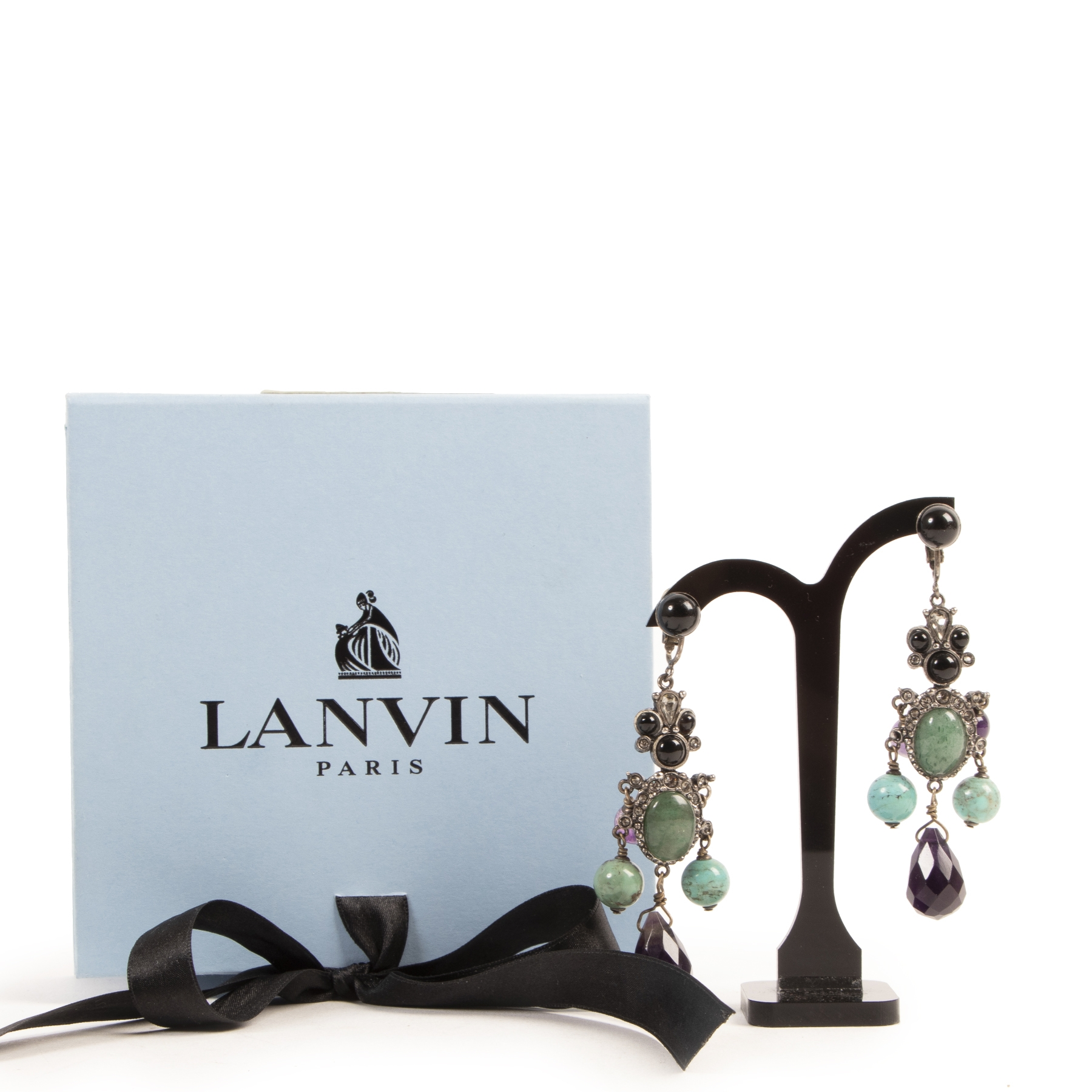 Authentic secondhand Lanvin Multicolor Clip Earrings designer accessories fashion luxury vintage webshop safe secure online shopping