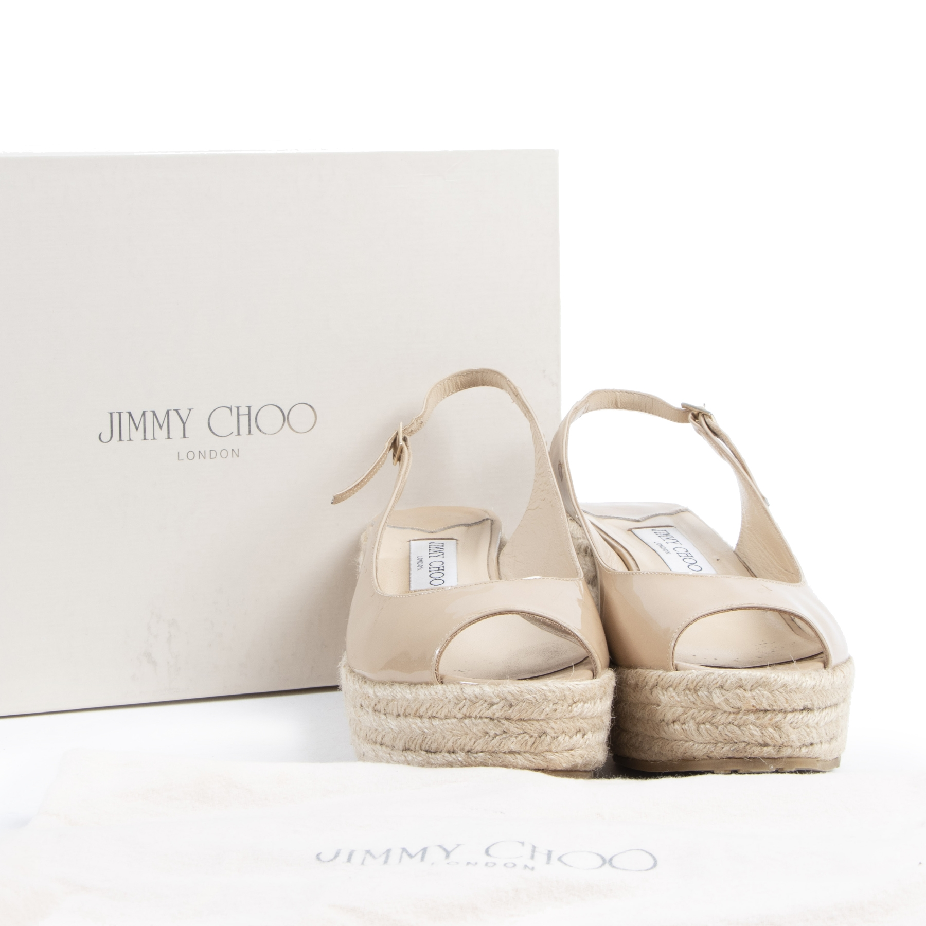 Authentic secondhand Jimmy Choo Nude Patent Leather Espadrille Wedges - Size 39 designer shoes accessories designer brands fashion luxury vintage webshop safe secure online shopping