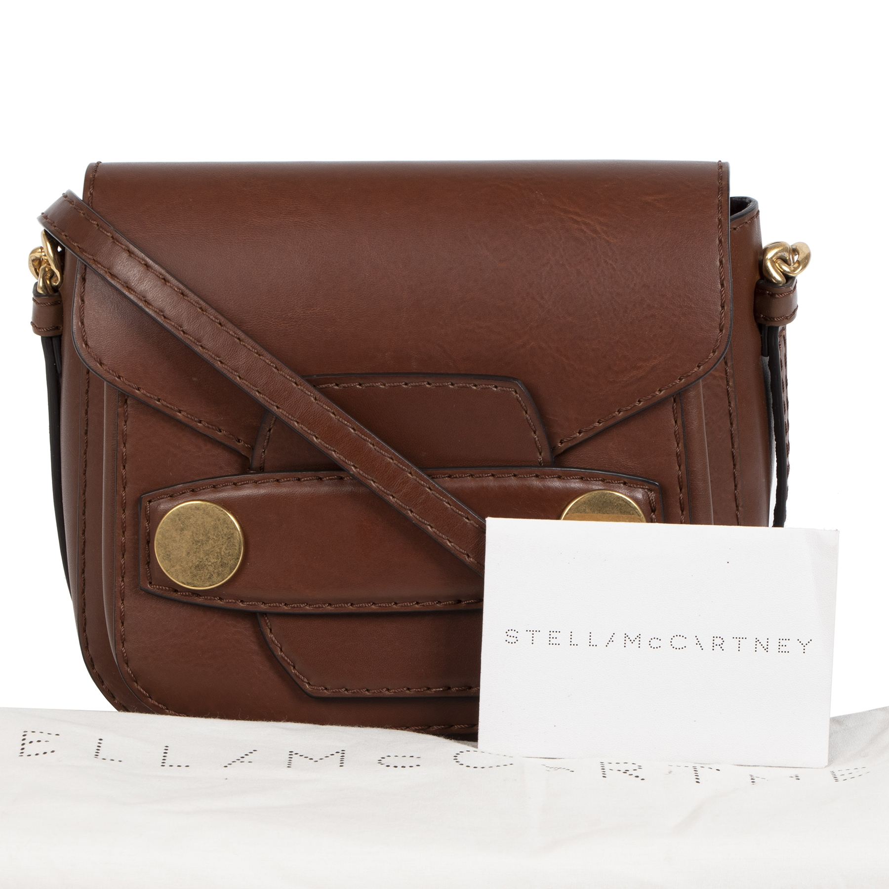 Stella Mccartney Brown Popper Faux Leather Bag to buy and sell online and in Antwerp