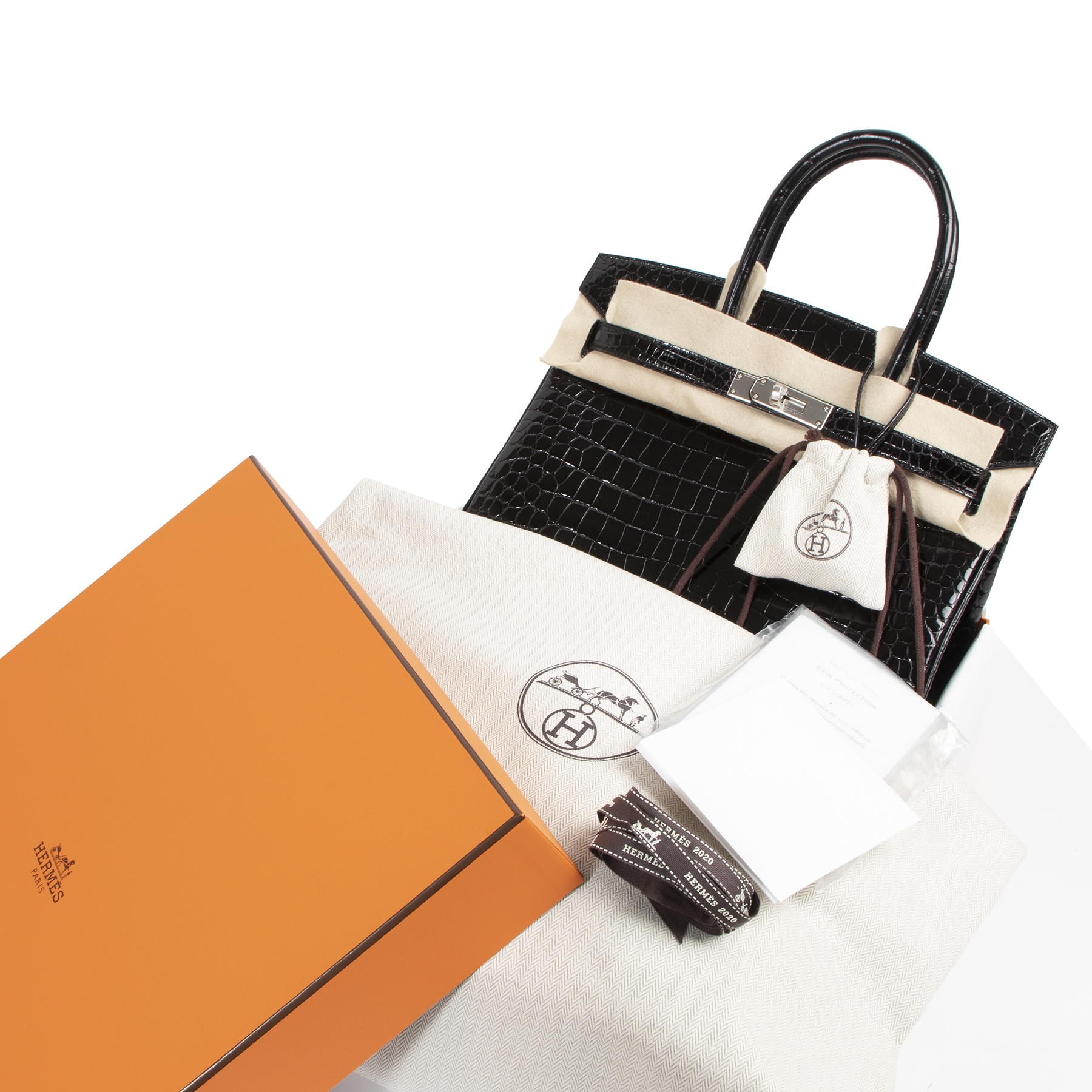 Hermes Birkin 30 Crocodile Porosus PHW at the right price online at Labellov