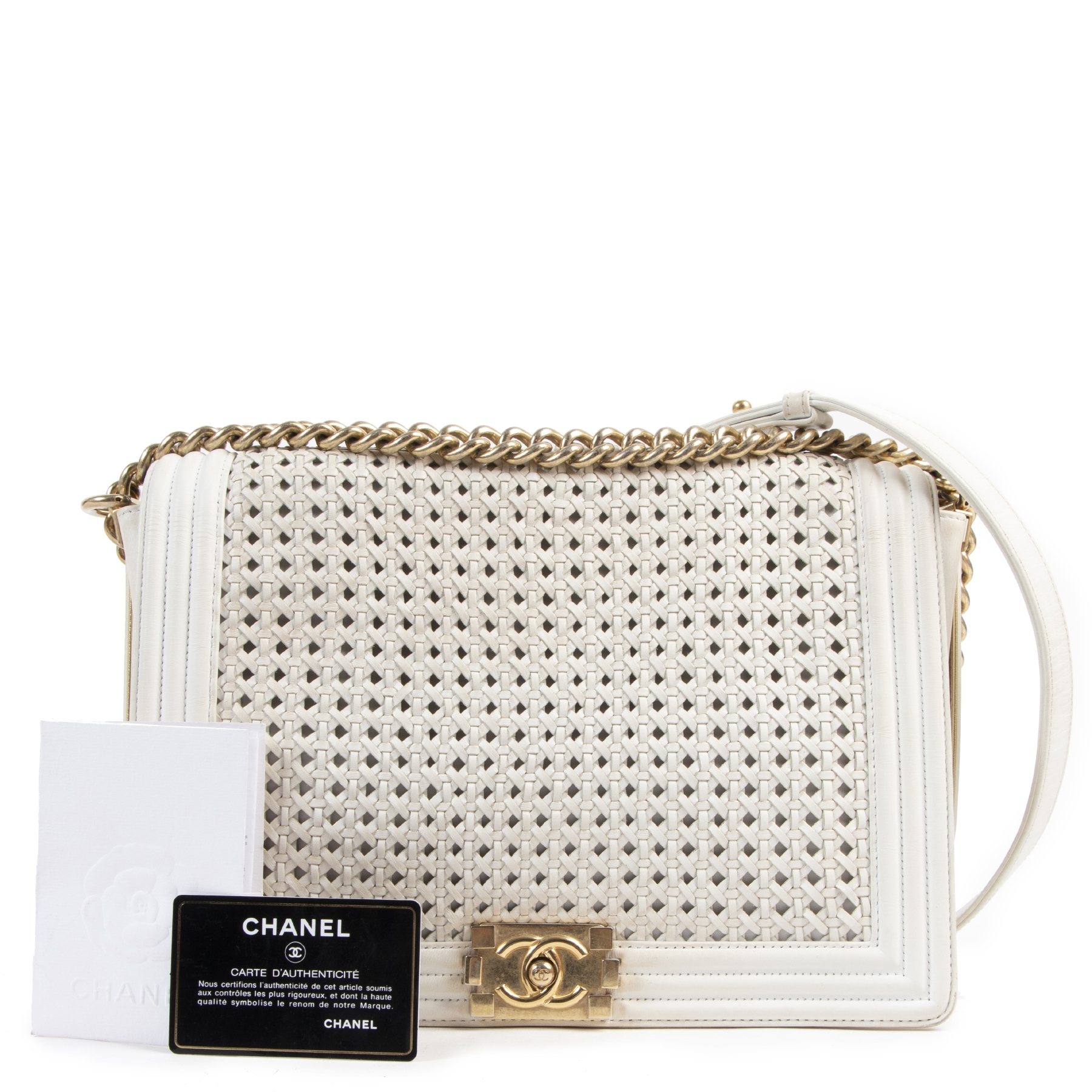 Chanel Large White Braided Boy Flap Bag