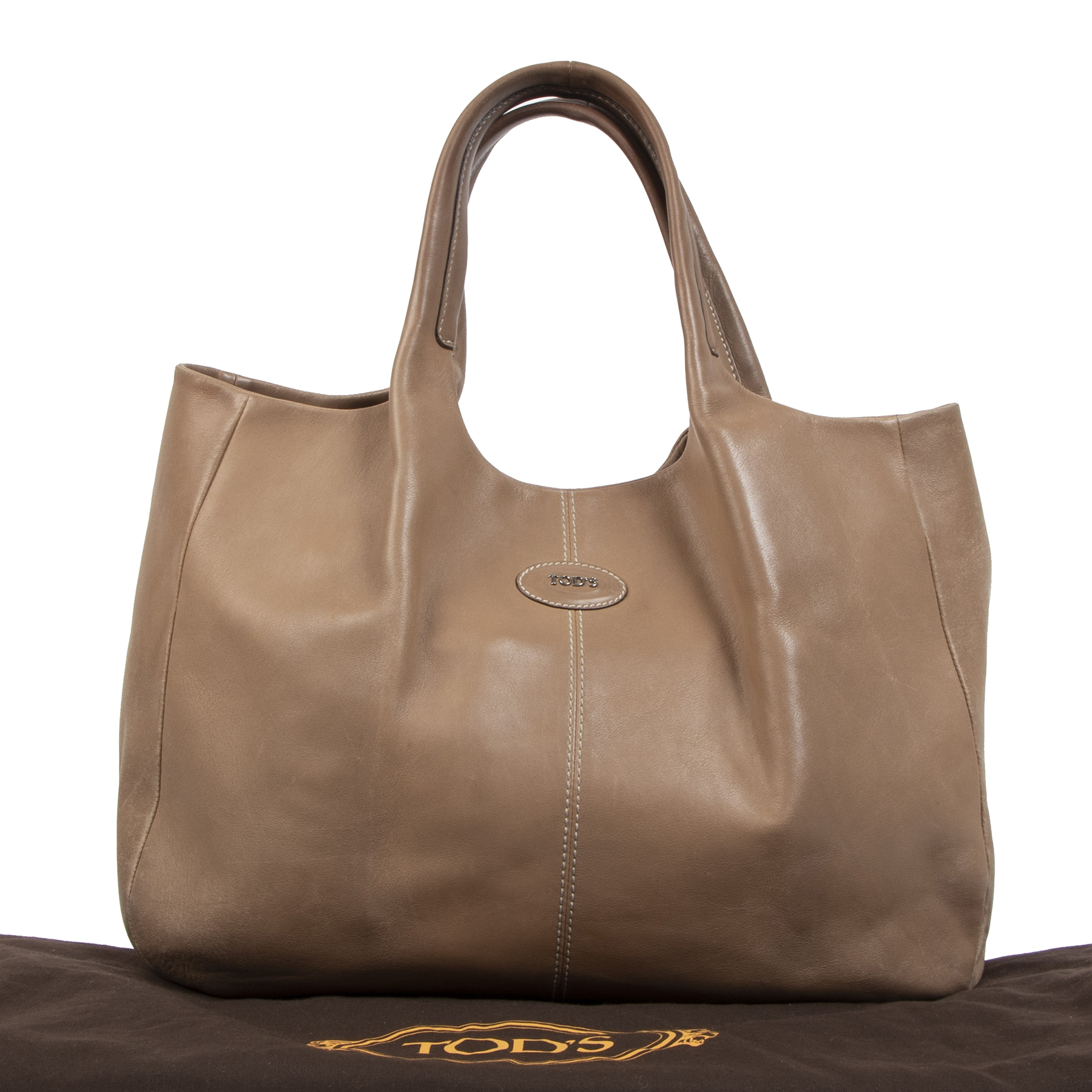 Authentieke tweedehands vintage Tods Taupe 24H Shopping Tote Bag koop online webshop LabelLOV