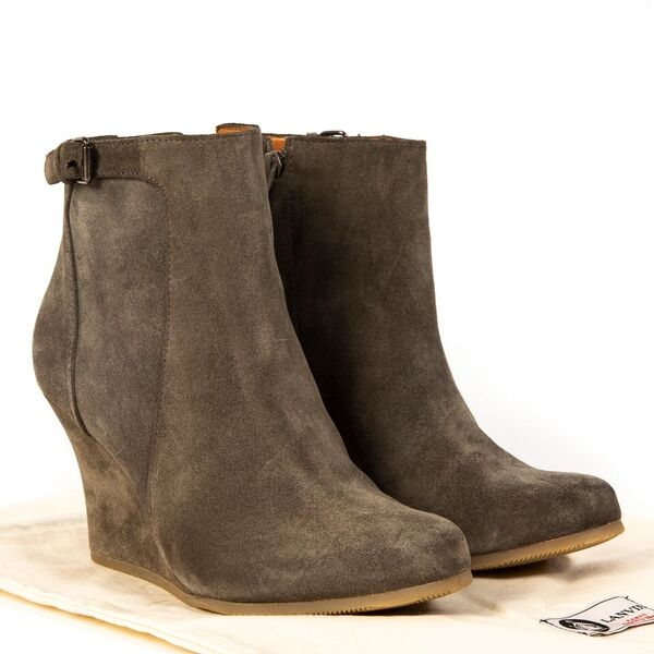 Buy and sell your authenticLanvin Grey Suede Wedge Ankle Boots - Size 36,5  for the best price available online at Labellov.