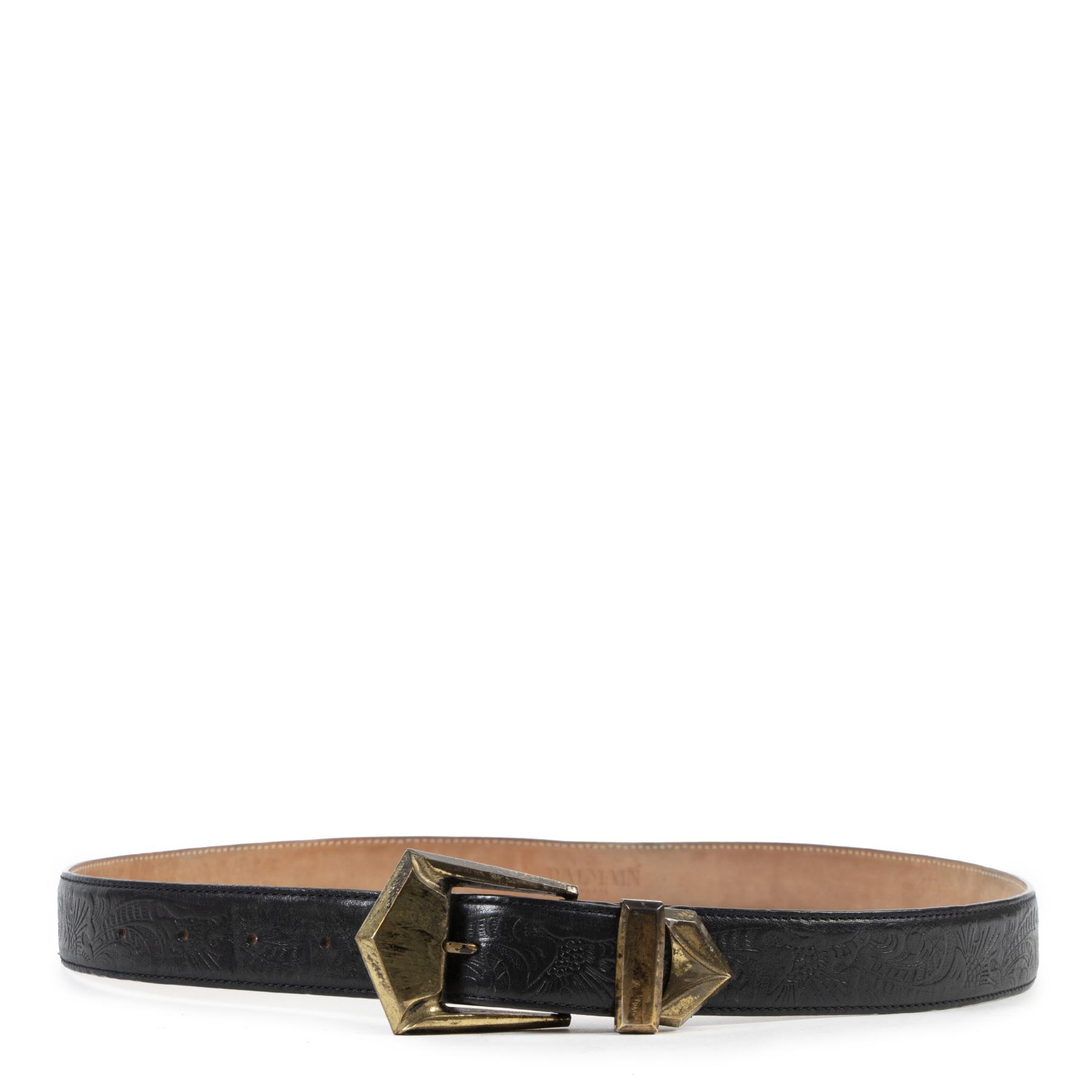 Authentic second-hand vintage Balmain Black Leather Belt - Size 38 buy online webshop LabelLOV