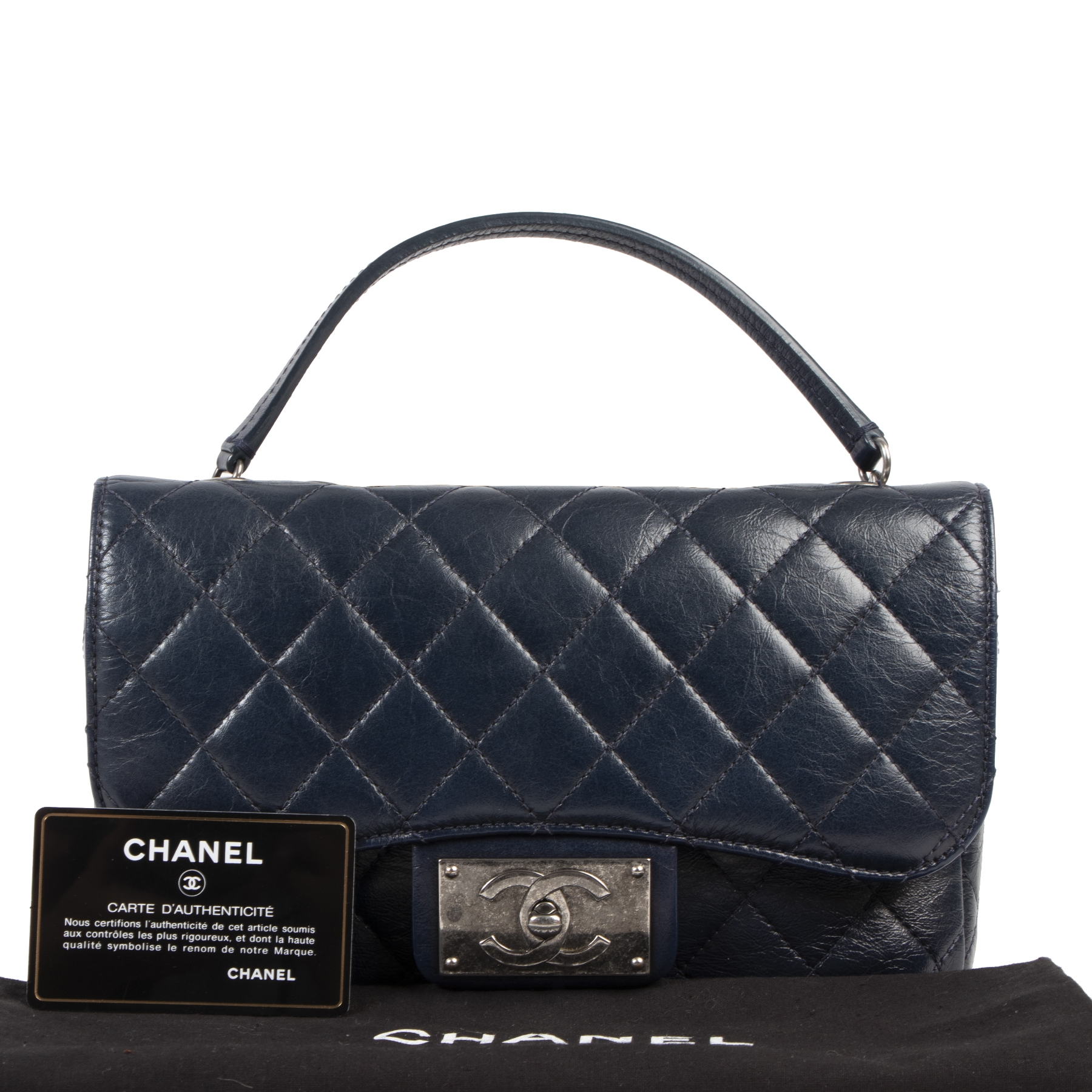 Chanel Dark Blue Small Crinkled Calfskin Flap Bag