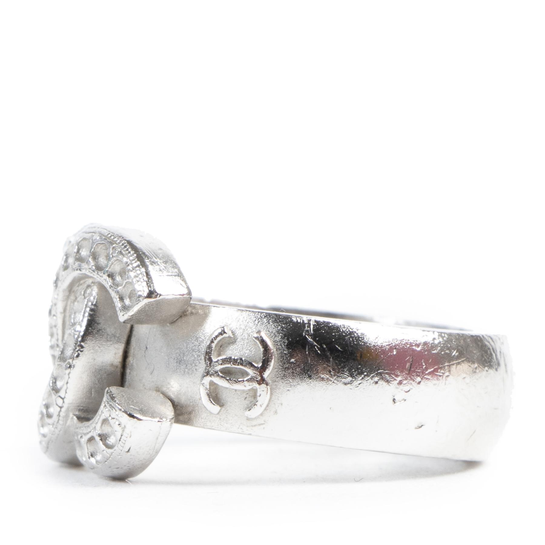 Authentieke Tweedehands Chanel Silver CC Logo Ring juiste prijs veilig online shoppen luxe merken webshop winkelen Antwerpen België mode fashion