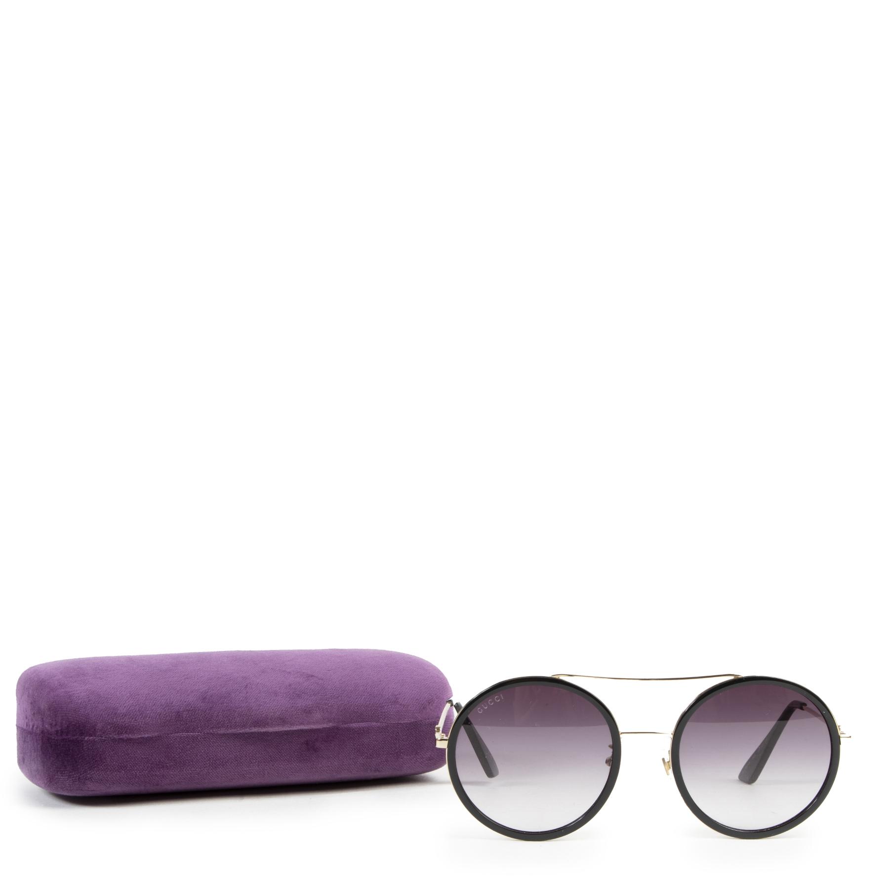 Authentieke tweedehands vintage Gucci Round Black Sunglasses koop online webshop LabelLOV