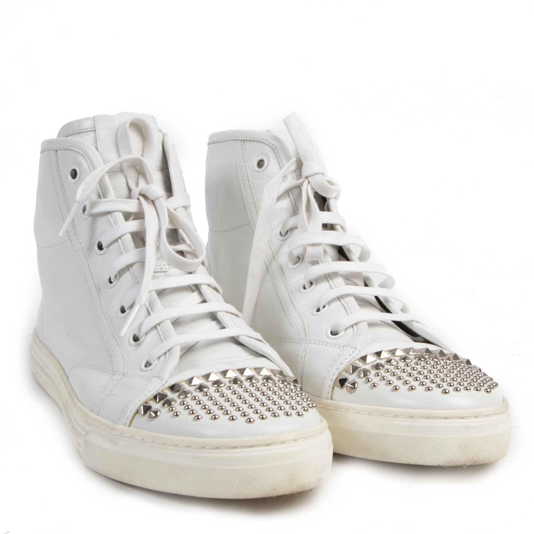 Authentic secondhand Gucci White California Studded Sneakers - Size 38,5 designer sneakers shoes fashion luxury vintage webshop high end brands designers safe secure online shopping webshop