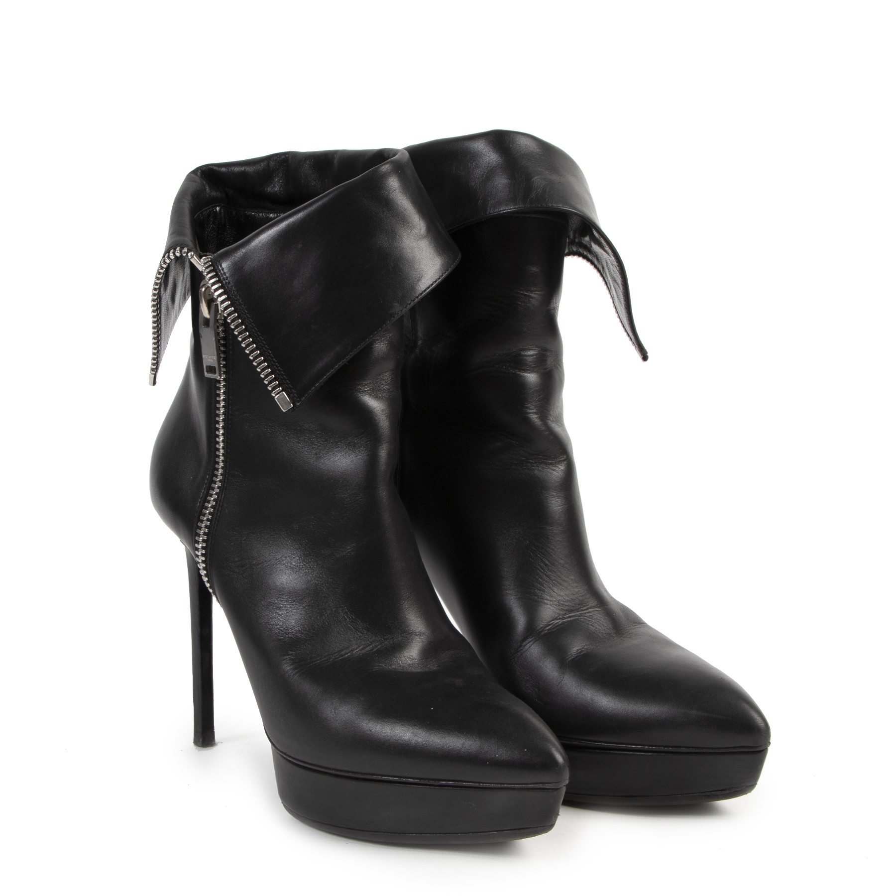 Saint Laurent Janis Black Leather Zipper Boots - Size 40