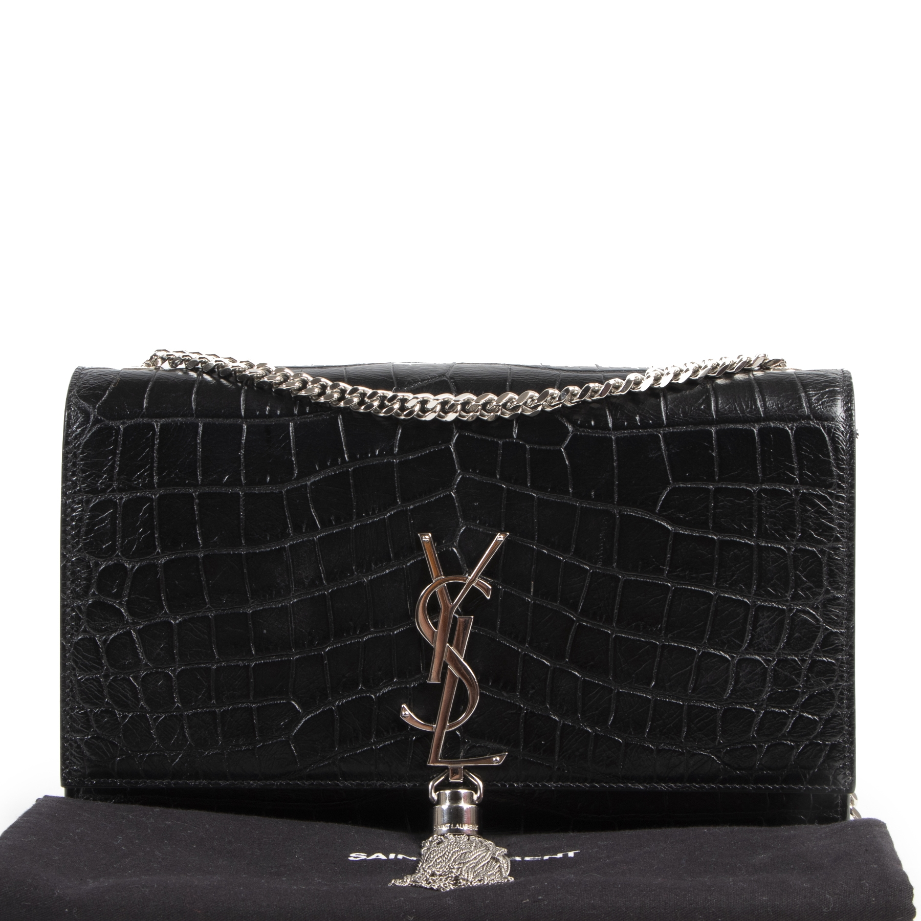 Koop en verkoop uw authentieke designer Saint Laurent Kate Tassel Croc Embossed Leather Bag