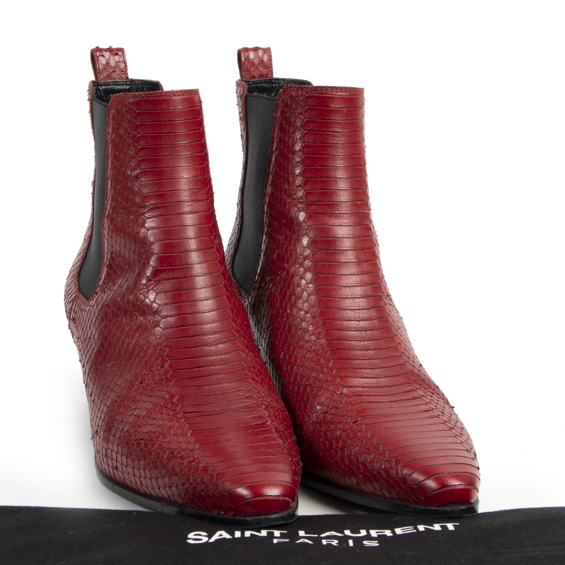 Authentic secondhand Saint Laurent Red Python Ankle Boots - Size 39 designer shoes luxury vintage webshop fashion high end designer brands shoes ankle boots