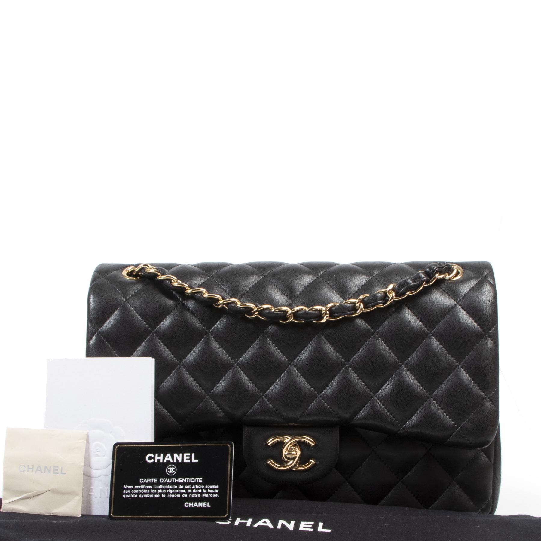 Authentieke Tweedehands Chanel Jumbo Classic Flap Bag Black Lambskin GHW juiste prijs veilig online shoppen luxe merken webshop winkelen Antwerpen België mode fashion
