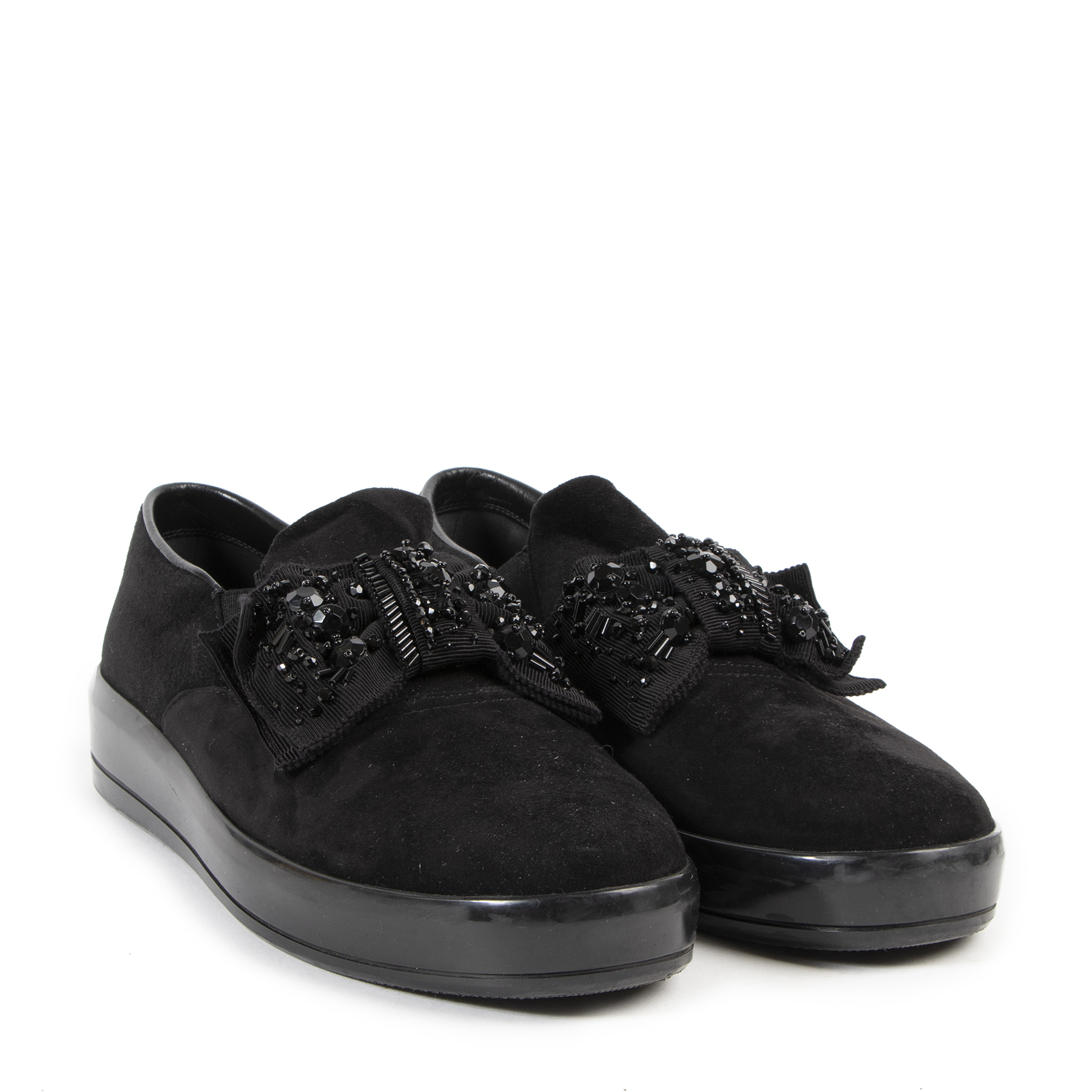 Prada Black Suede Bow Slip-on Loafers - size 39