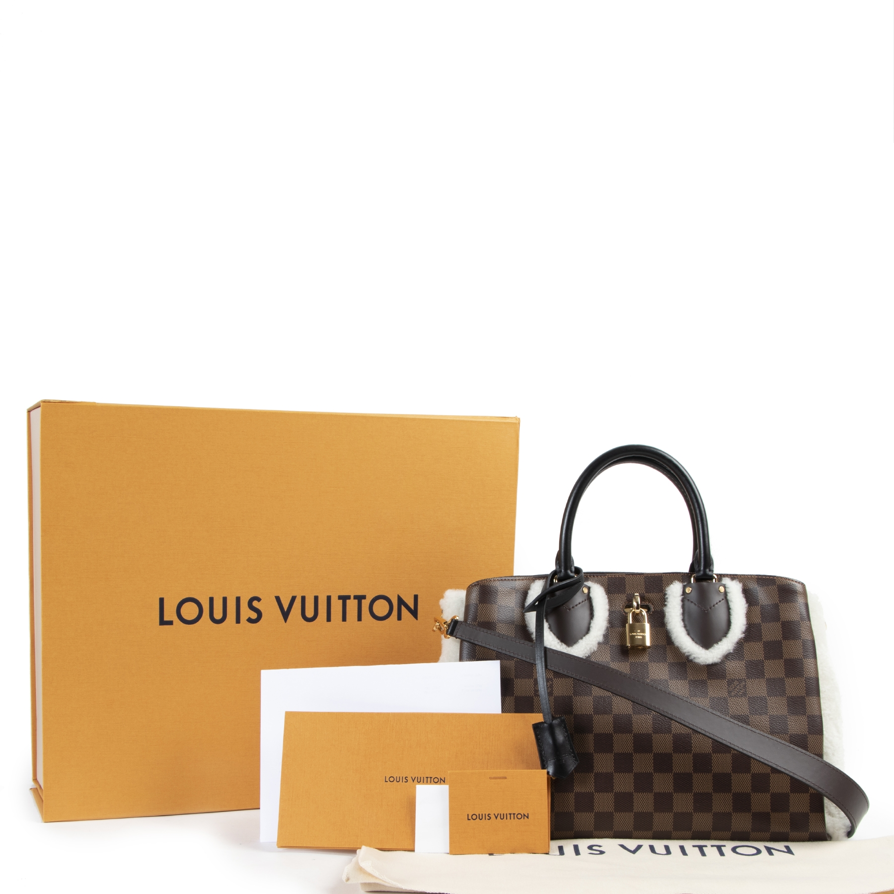 shop safe online secondhand Louis Vuitton Limited Cuir Taurillon Damier Ebene Normandy Shoulder Bag