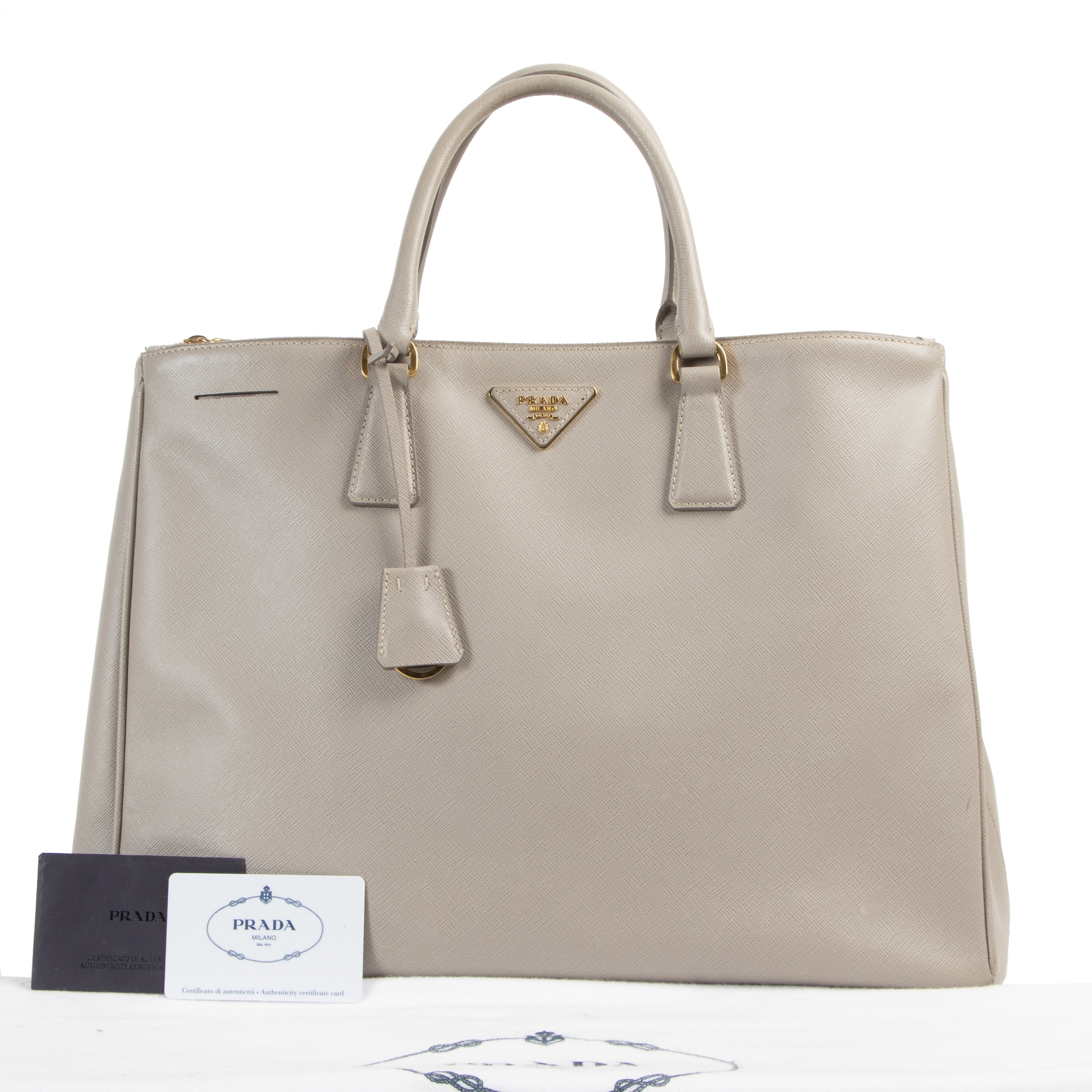 shop safe online Prada Grey Saffiano Lux Large Double Zip Tote