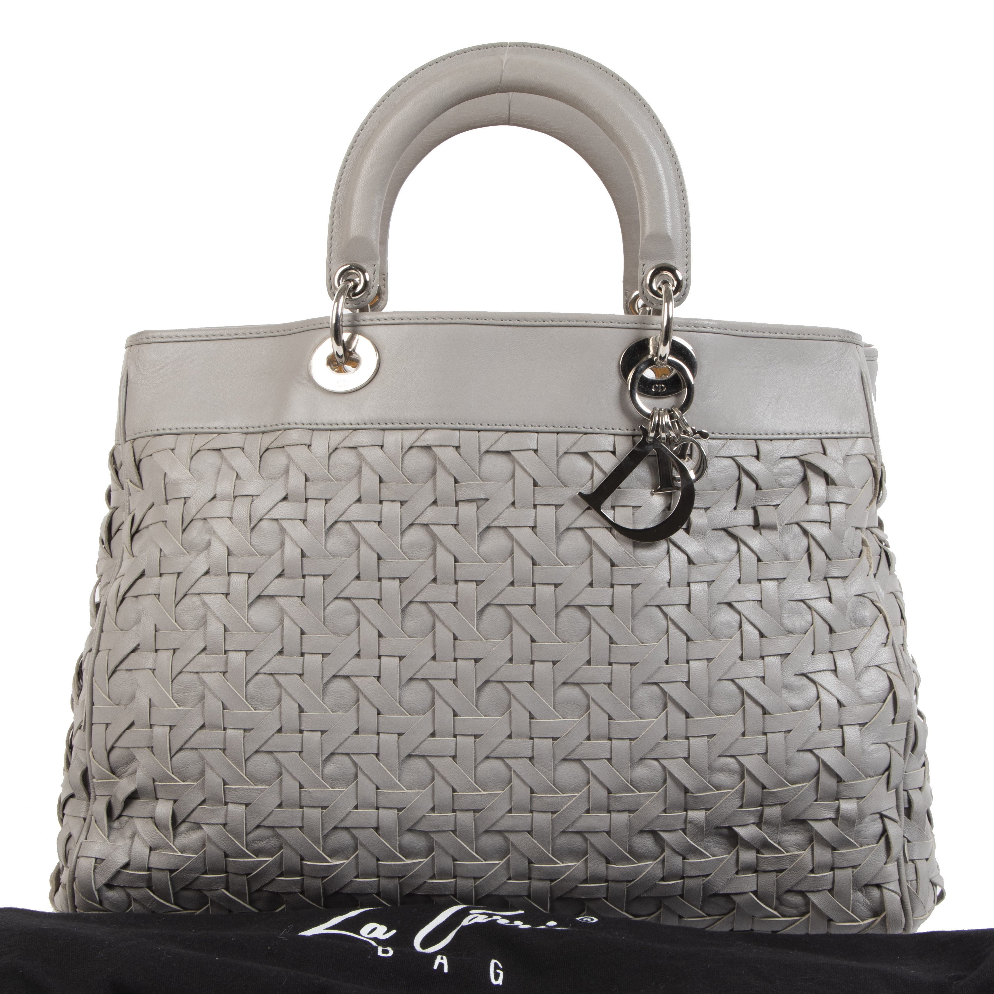 Authentieke tweedehands vintage Dior Lady Dior Avenue Grey Tote Bag koop online webshop LabelLOV