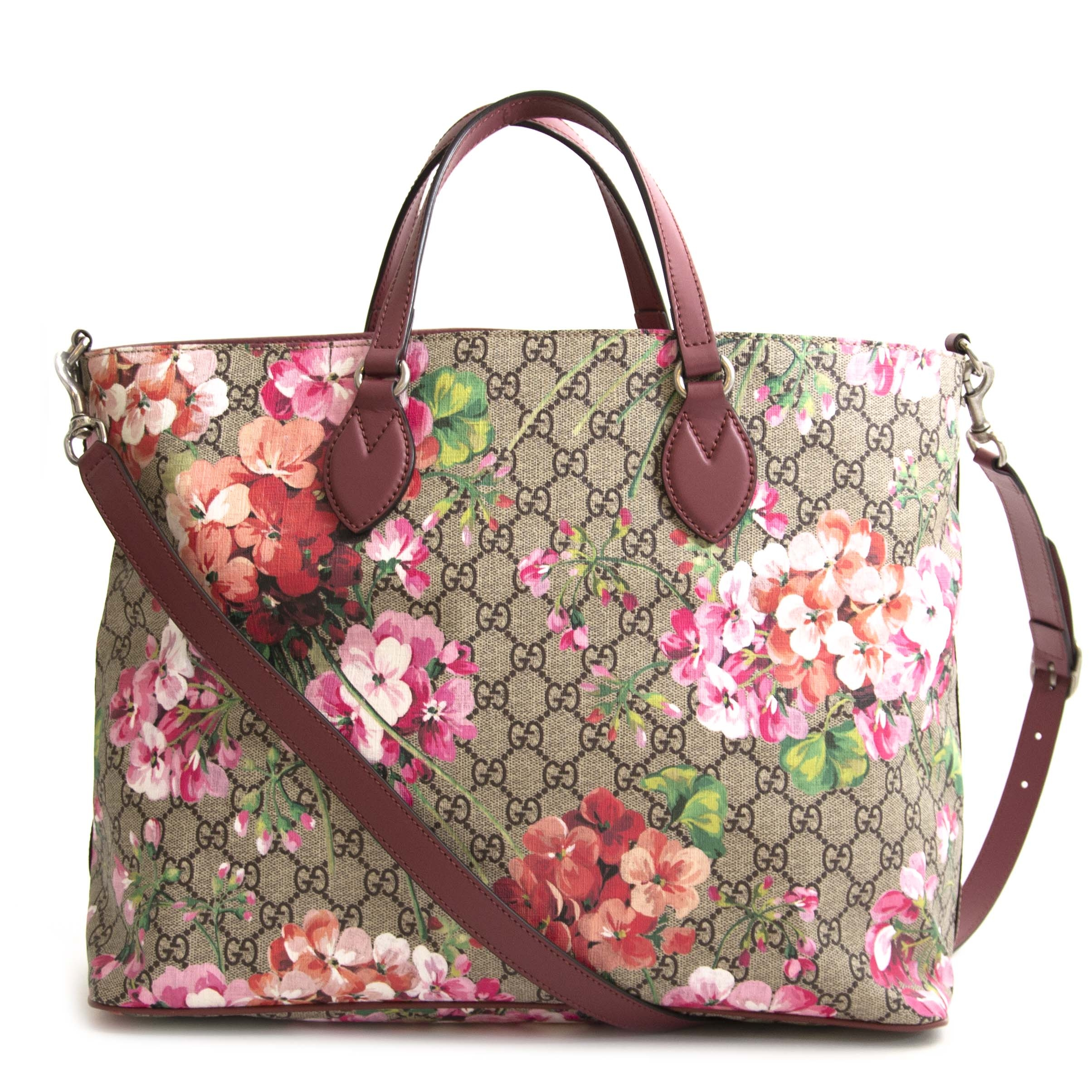 Authentic second hand vintage Gucci Monogram Blooms Tote online shopping webshop LabelLOV