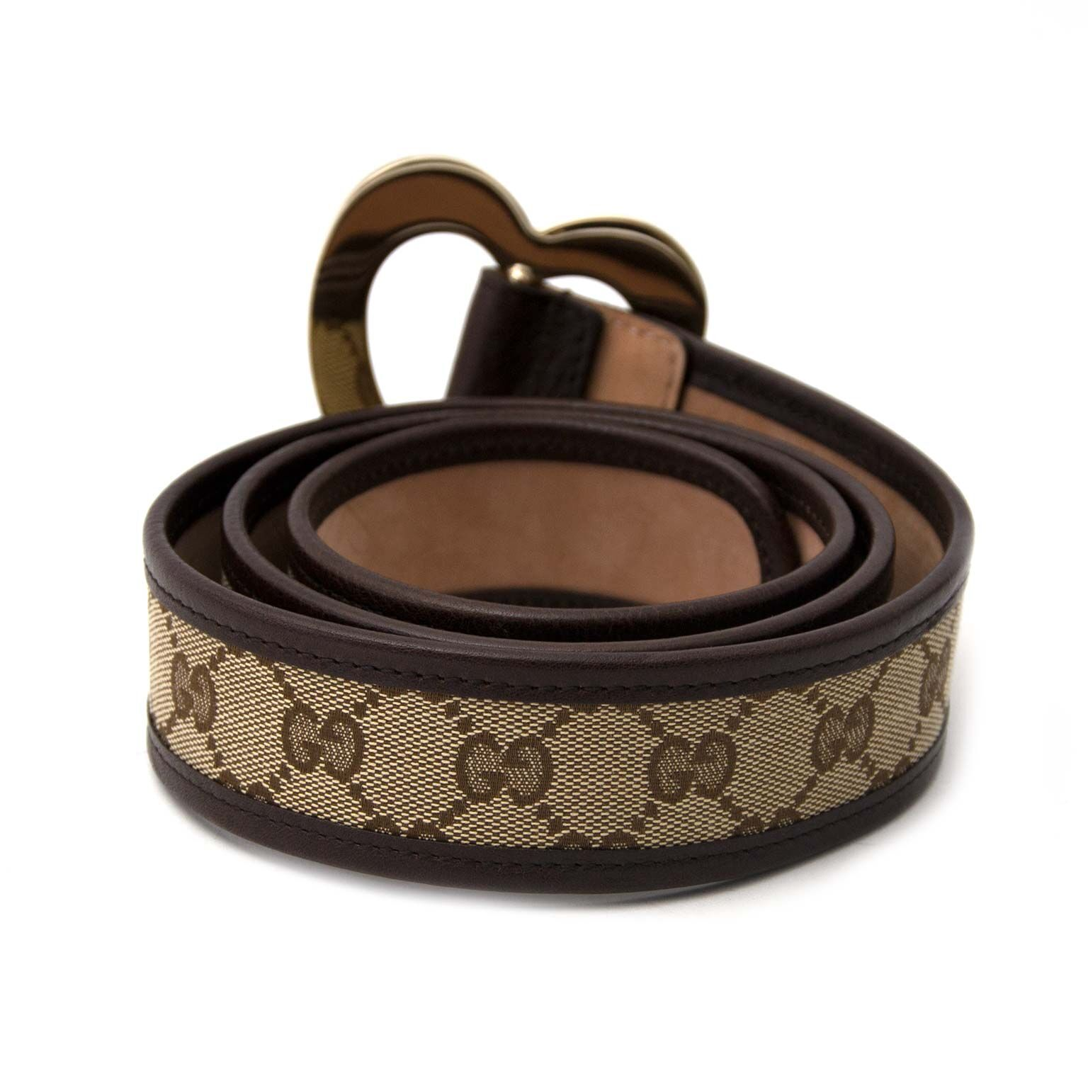 Brown leather Gucci belt at labellov