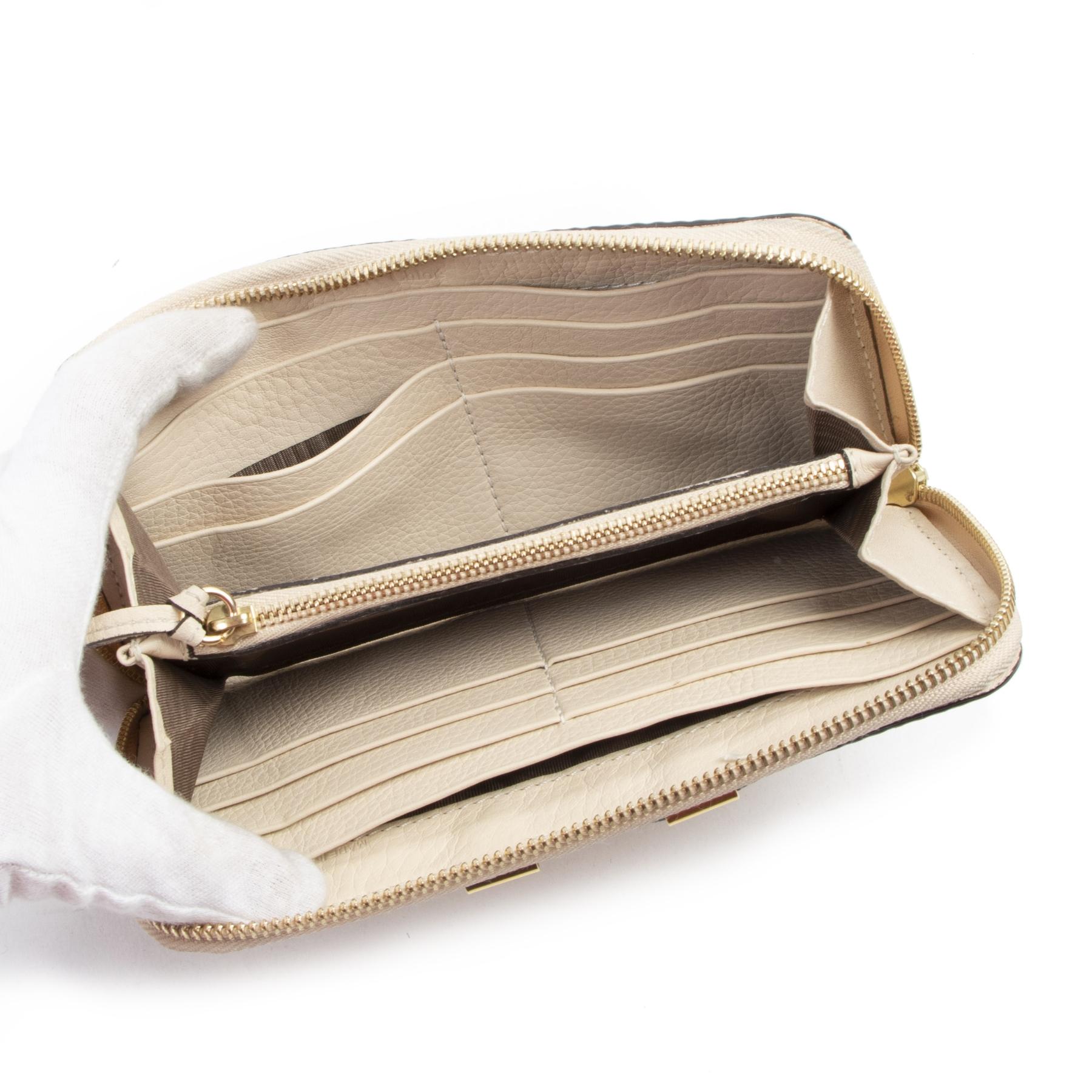 koop veilig online tegen de beste prijs Chloé Beige Marcie Zip Around Wallet