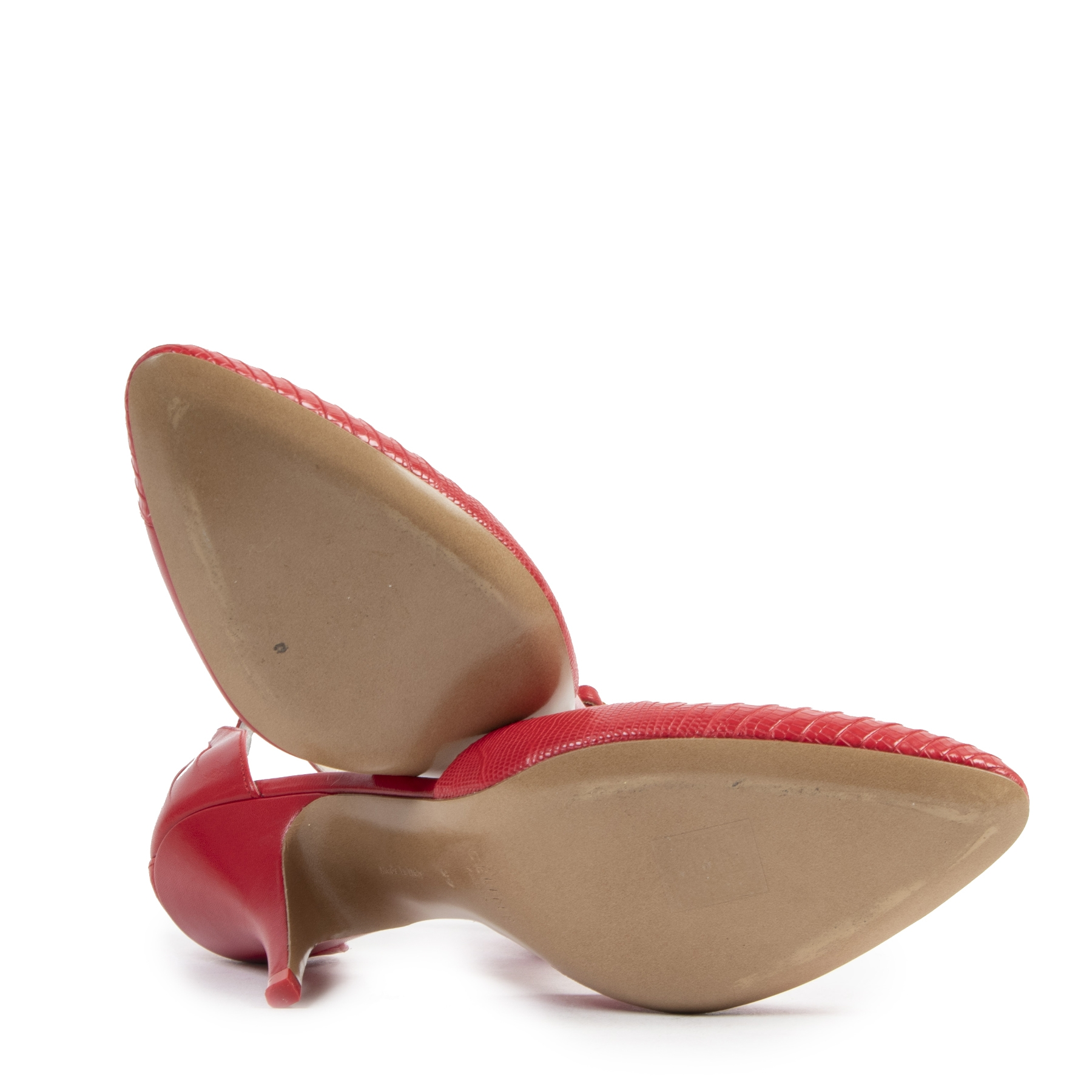 Authentieke tweedehands vintage Céline Red Leather Pumps - Size 39 koop online webshop LabelLOV