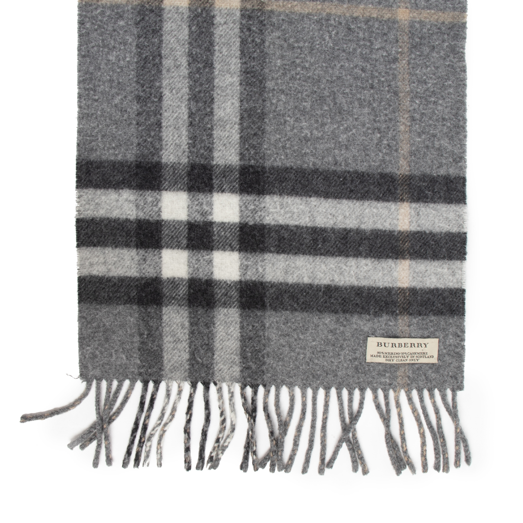 Authentic secondhand Burberry Grey Wool Check Scarf designer accessories fashion luxury vintage webshop safe secure online shopping